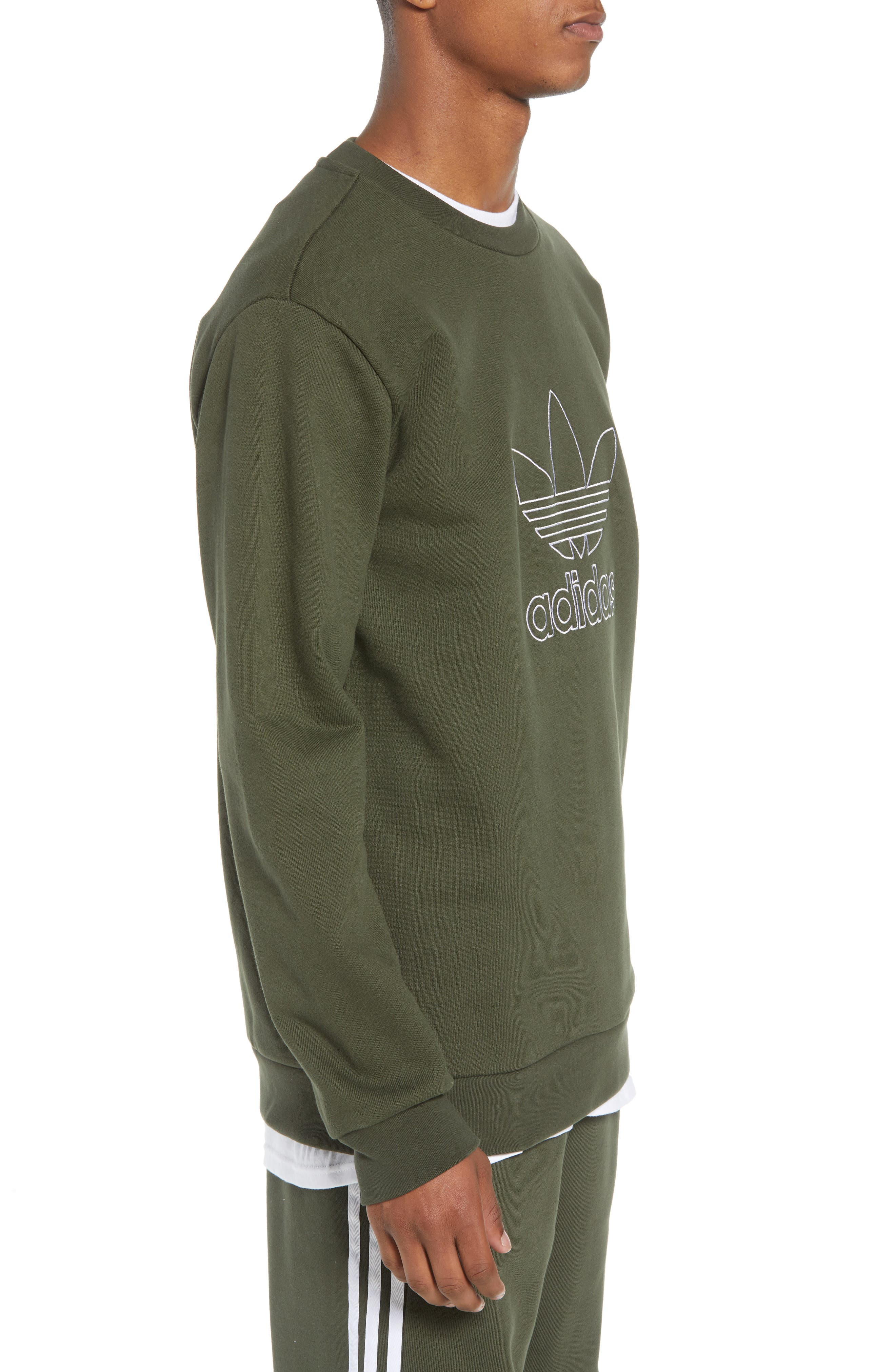 adidas Outline Trefoil Crewneck Sweatshirt,                             Alternate thumbnail 3, color,                             307