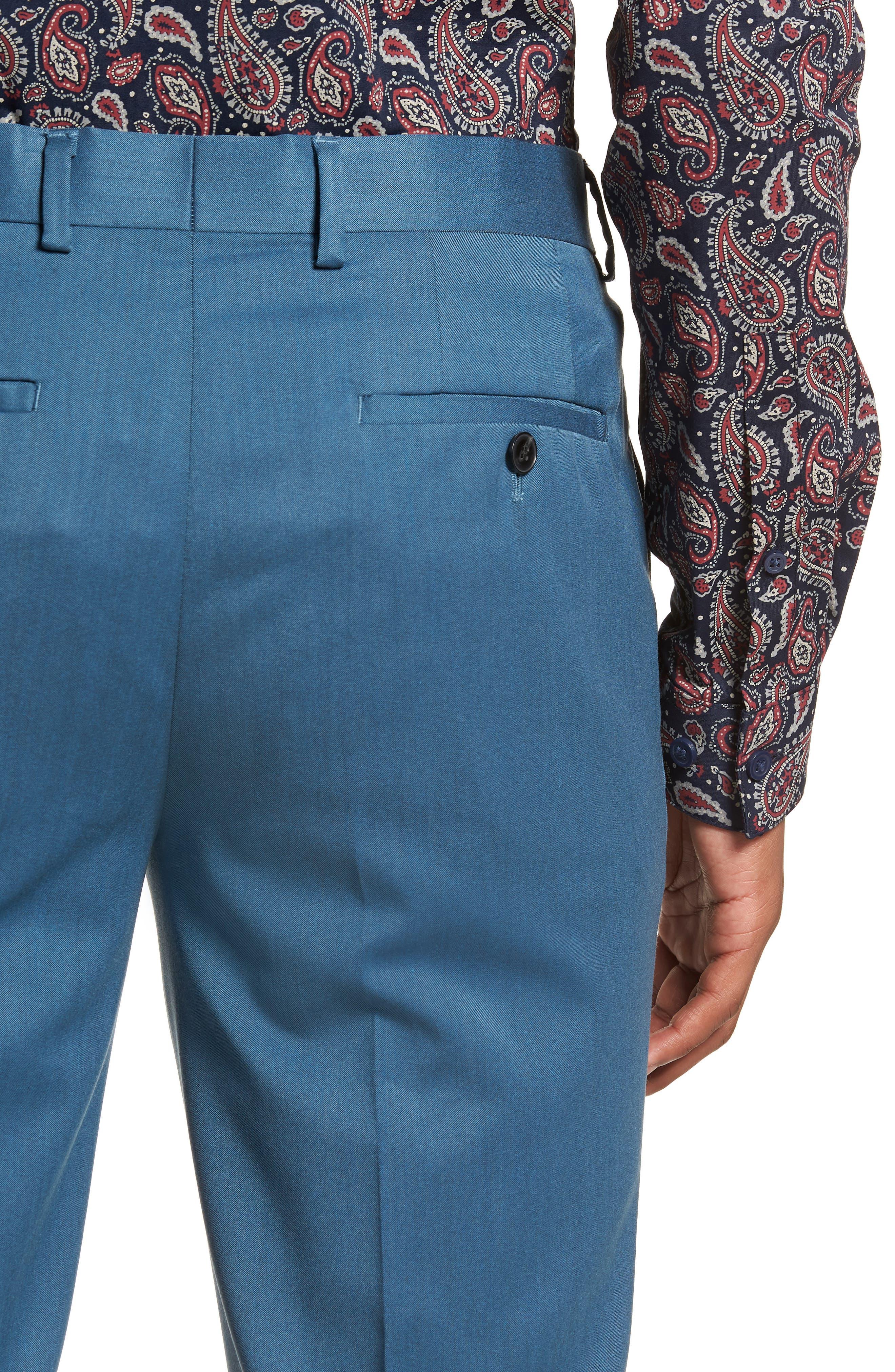 Skinny Fit Suit Trousers,                             Alternate thumbnail 4, color,                             LIGHT BLUE