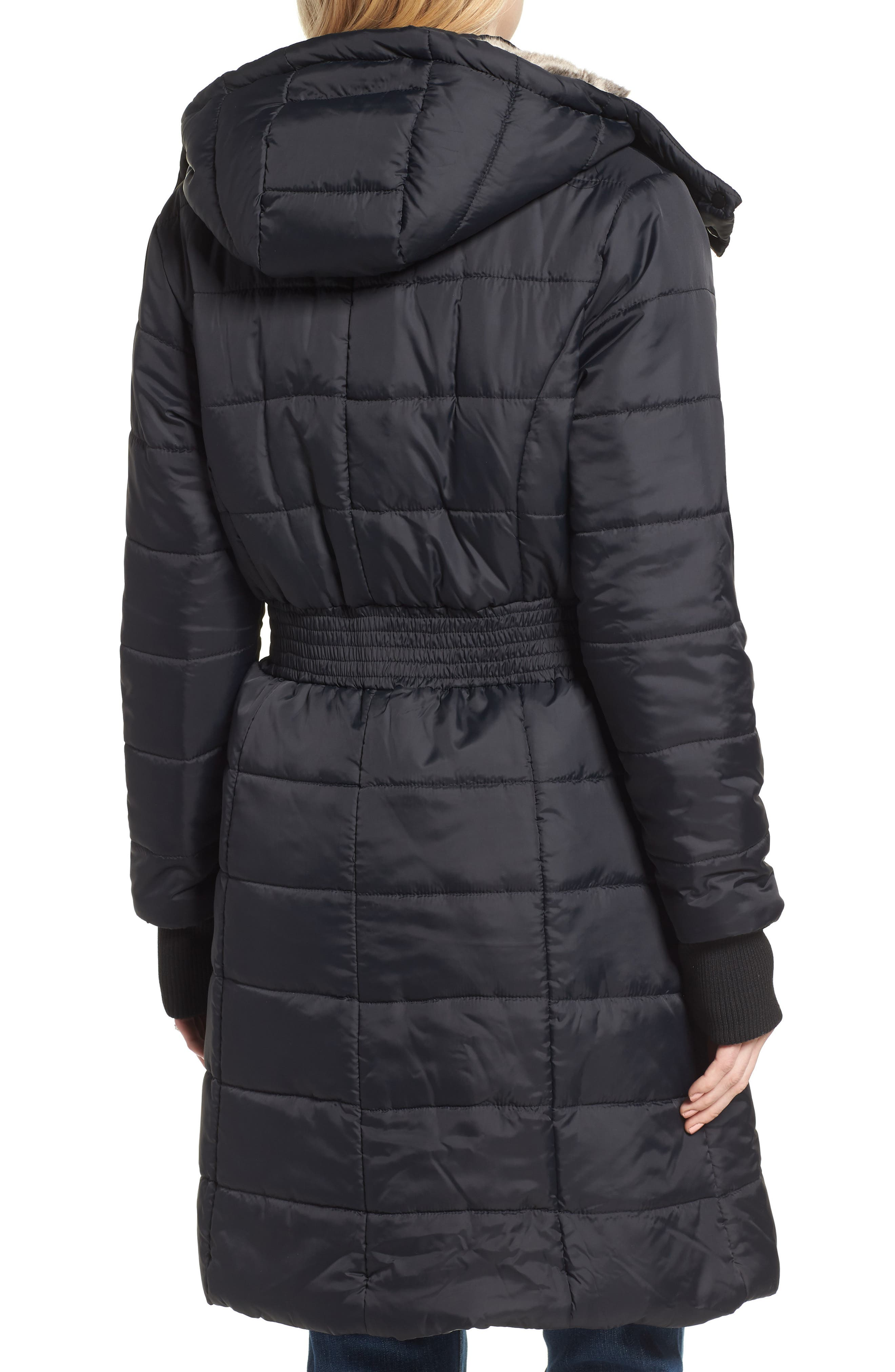 Madison Quilted 3-in-1 Maternity Puffer Coat with Faux Fur Trim,                             Alternate thumbnail 4, color,                             BLACK