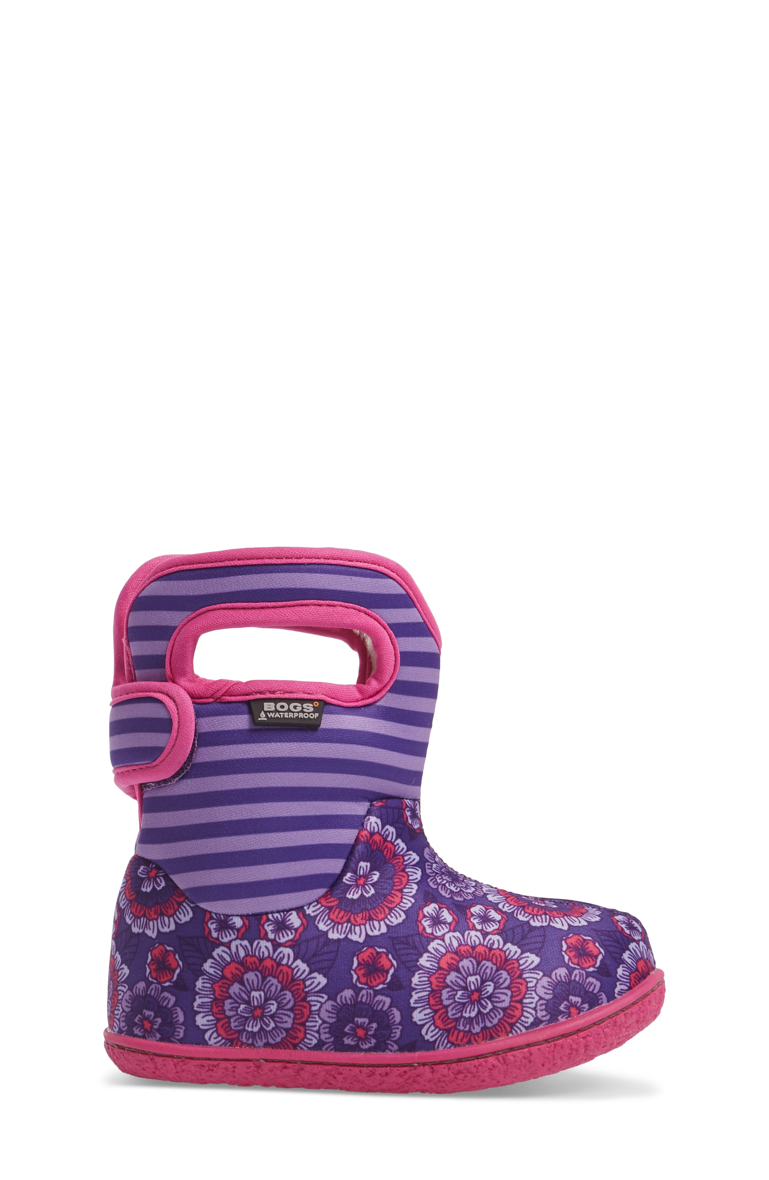 Baby Bogs Classic Pansies Washable Insulated Waterproof Boot,                             Alternate thumbnail 3, color,                             PURPLE MULTI
