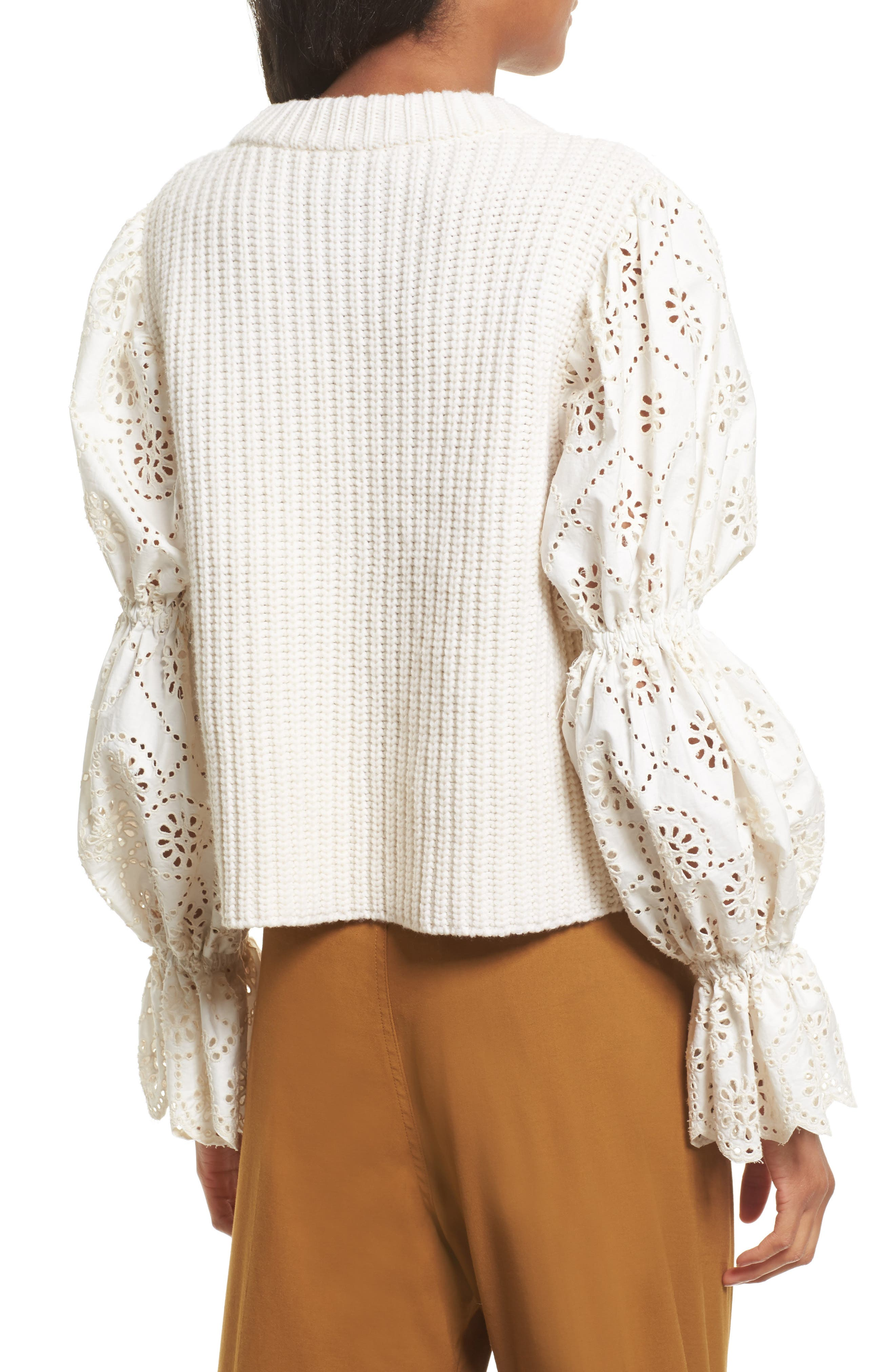 Eyelet Puff Sleeve Sweater,                             Alternate thumbnail 2, color,                             900