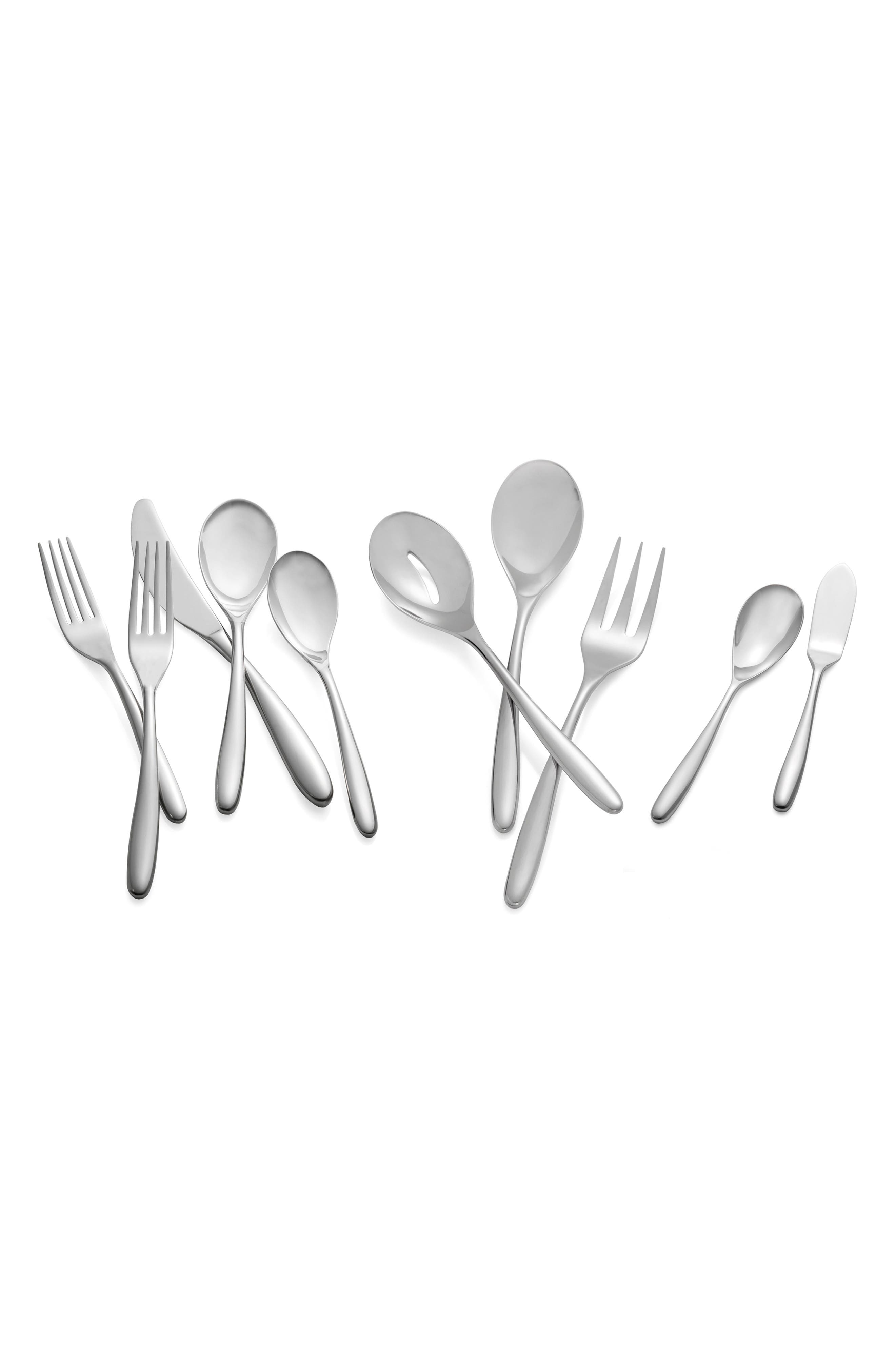'Bend' 45-Piece Flatware Set,                             Alternate thumbnail 2, color,                             SILVER