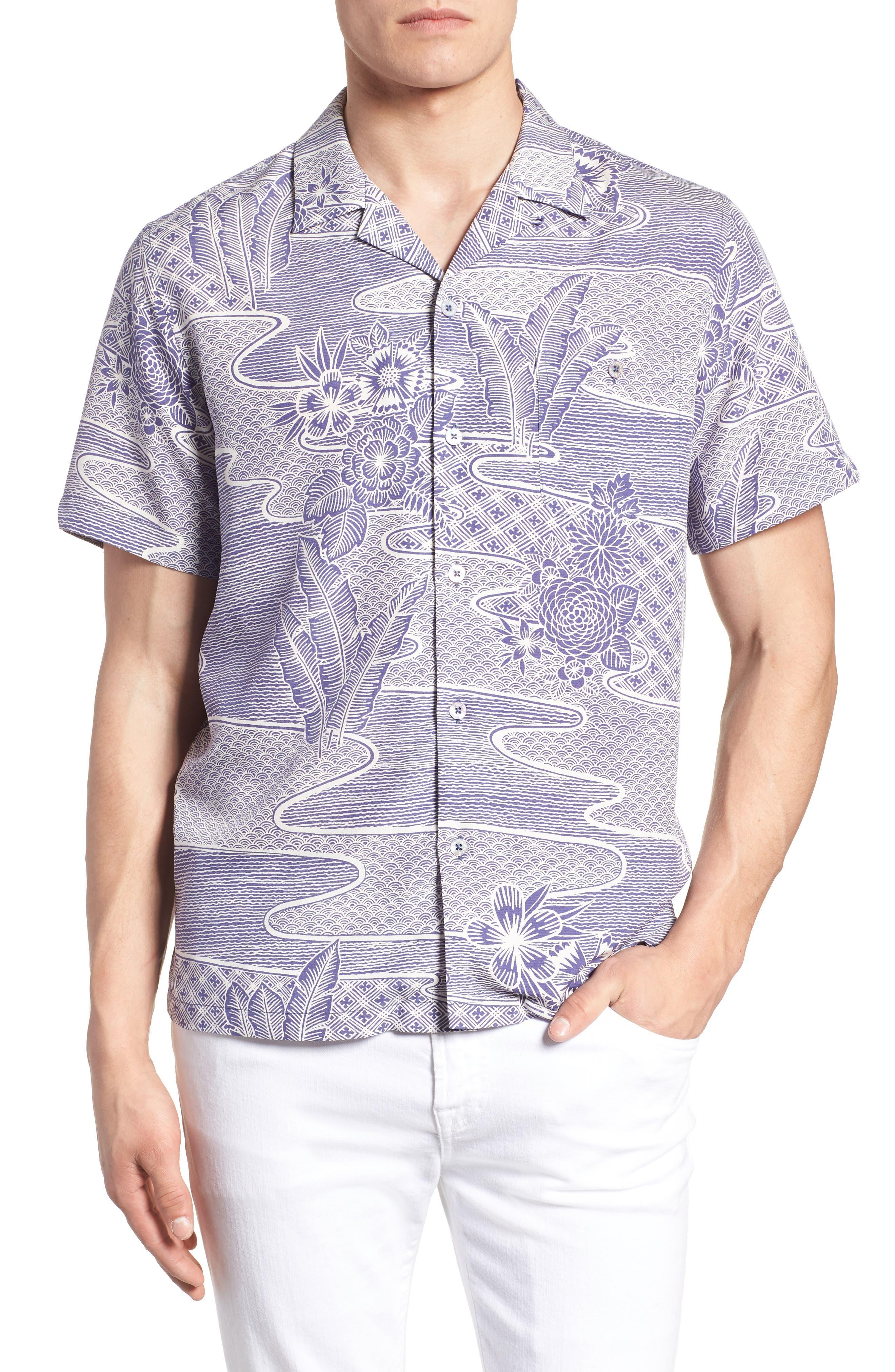 Zen Garden Trim Fit Silk Blend Camp Shirt,                             Main thumbnail 1, color,                             AMETHYST