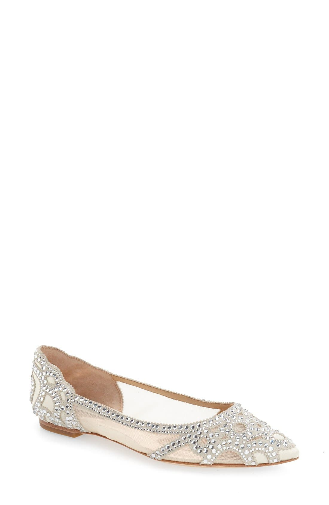 BADGLEY MISCHKA COLLECTION Badgley Mischka Gigi Crystal Pointy Toe Flat, Main, color, IVORY SATIN