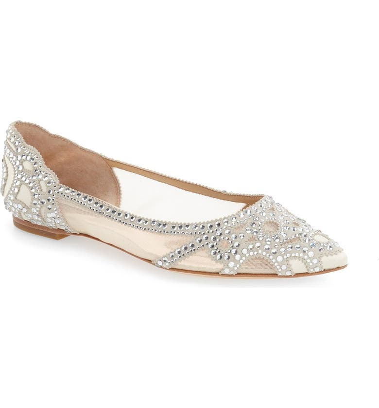 Find for Badgley Mischka Gigi Crystal Pointy Toe Flat (Women) Compare & Buy