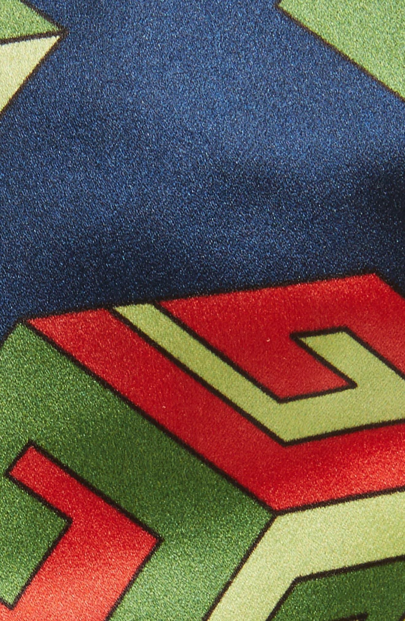 Logo Print Silk Head Wrap,                             Alternate thumbnail 2, color,                             NAVY/ LIGHT GREEN