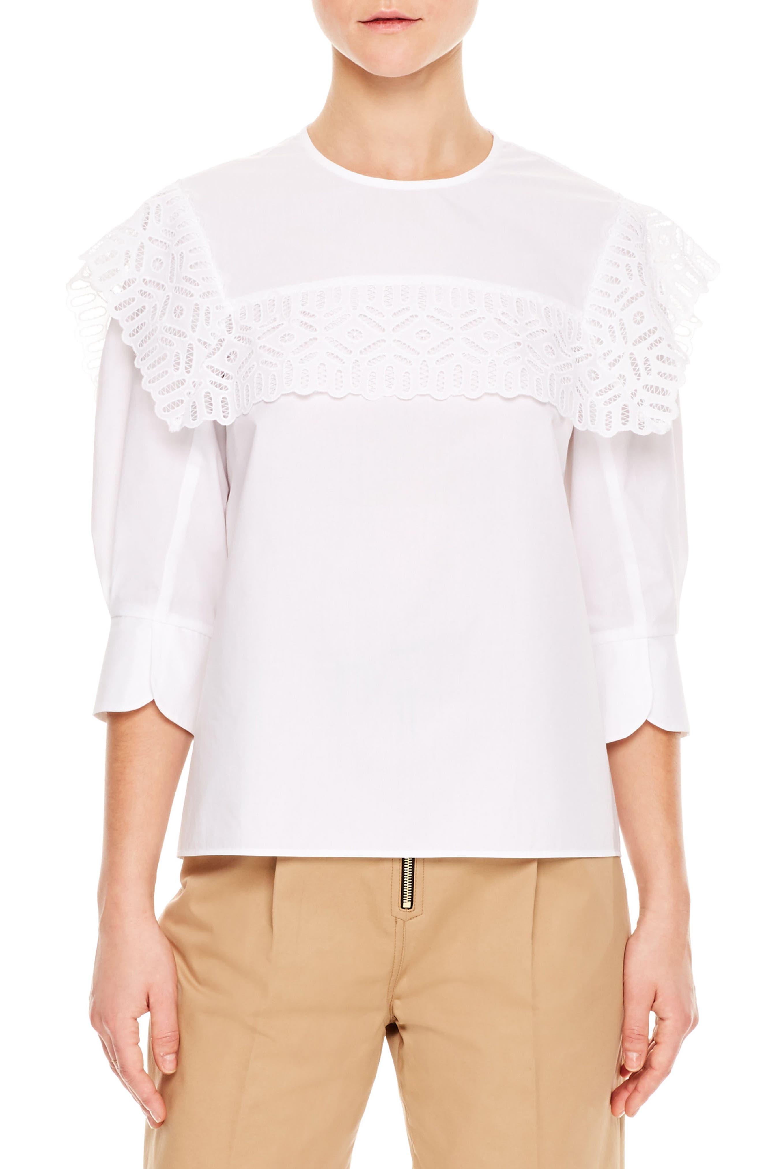 Lace Popover Cotton Top,                         Main,                         color, 100