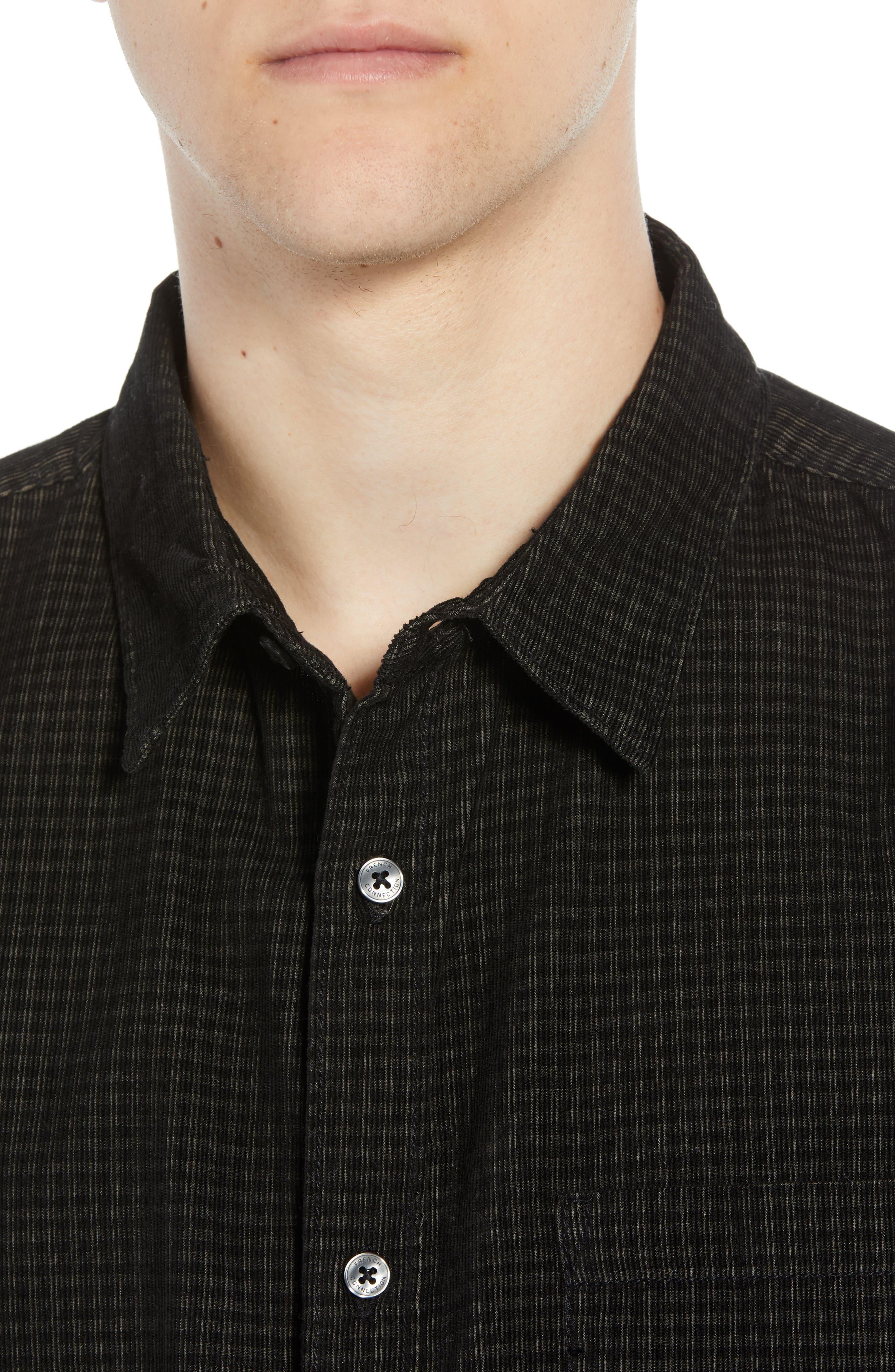 Regular Fit Mini Check Corduroy Shirt,                             Alternate thumbnail 2, color,                             BLACK IRIS