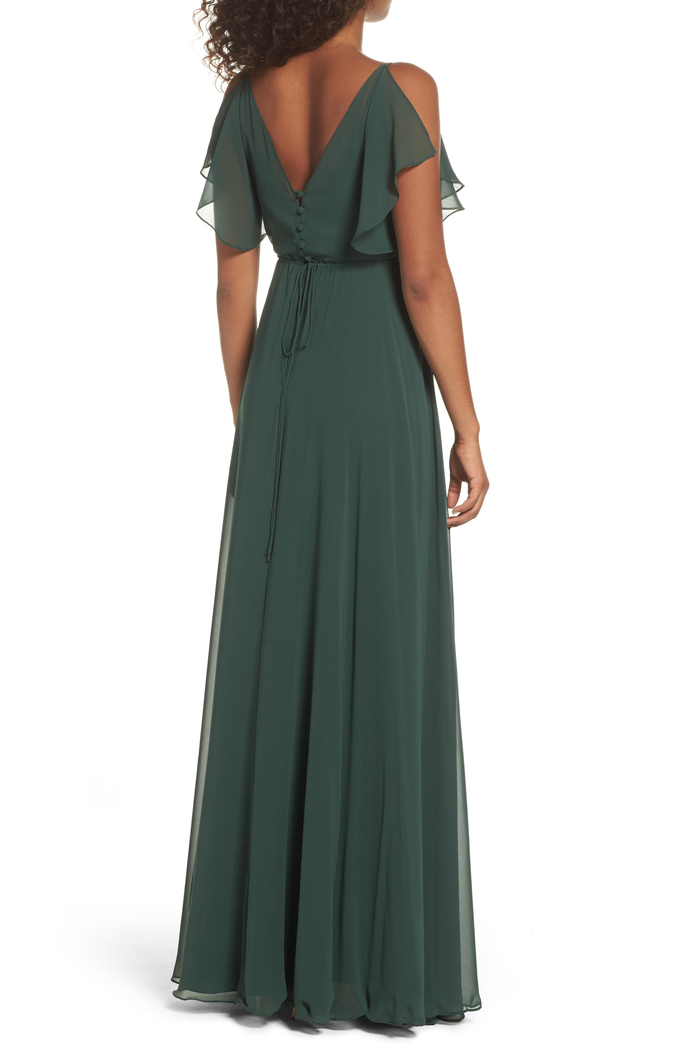 Cassie Flutter Sleeve Chiffon A-Line Gown,                             Alternate thumbnail 2, color,                             308