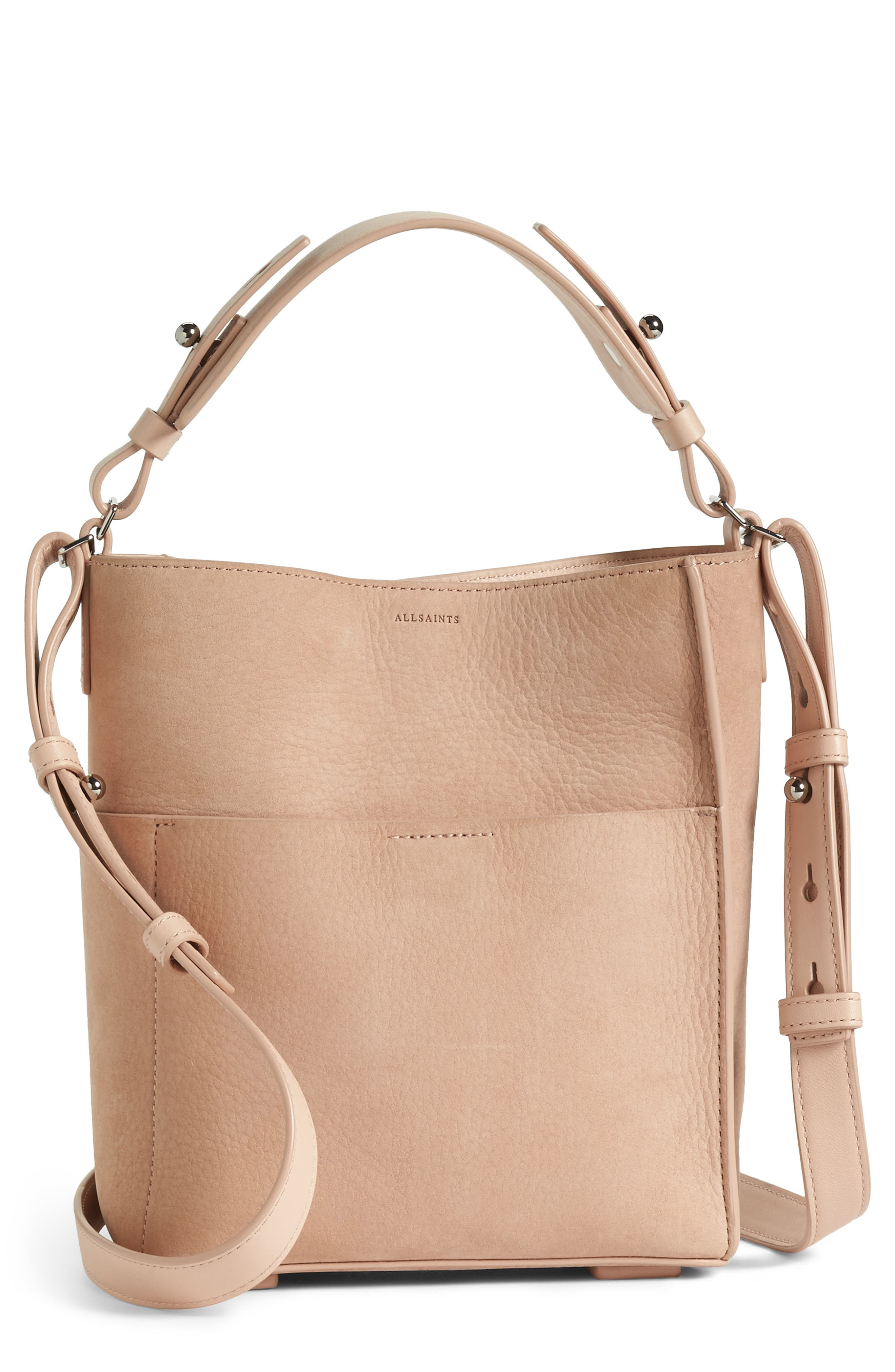 Mini Mast Leather North/South Tote,                             Main thumbnail 1, color,                             NUDE PINK