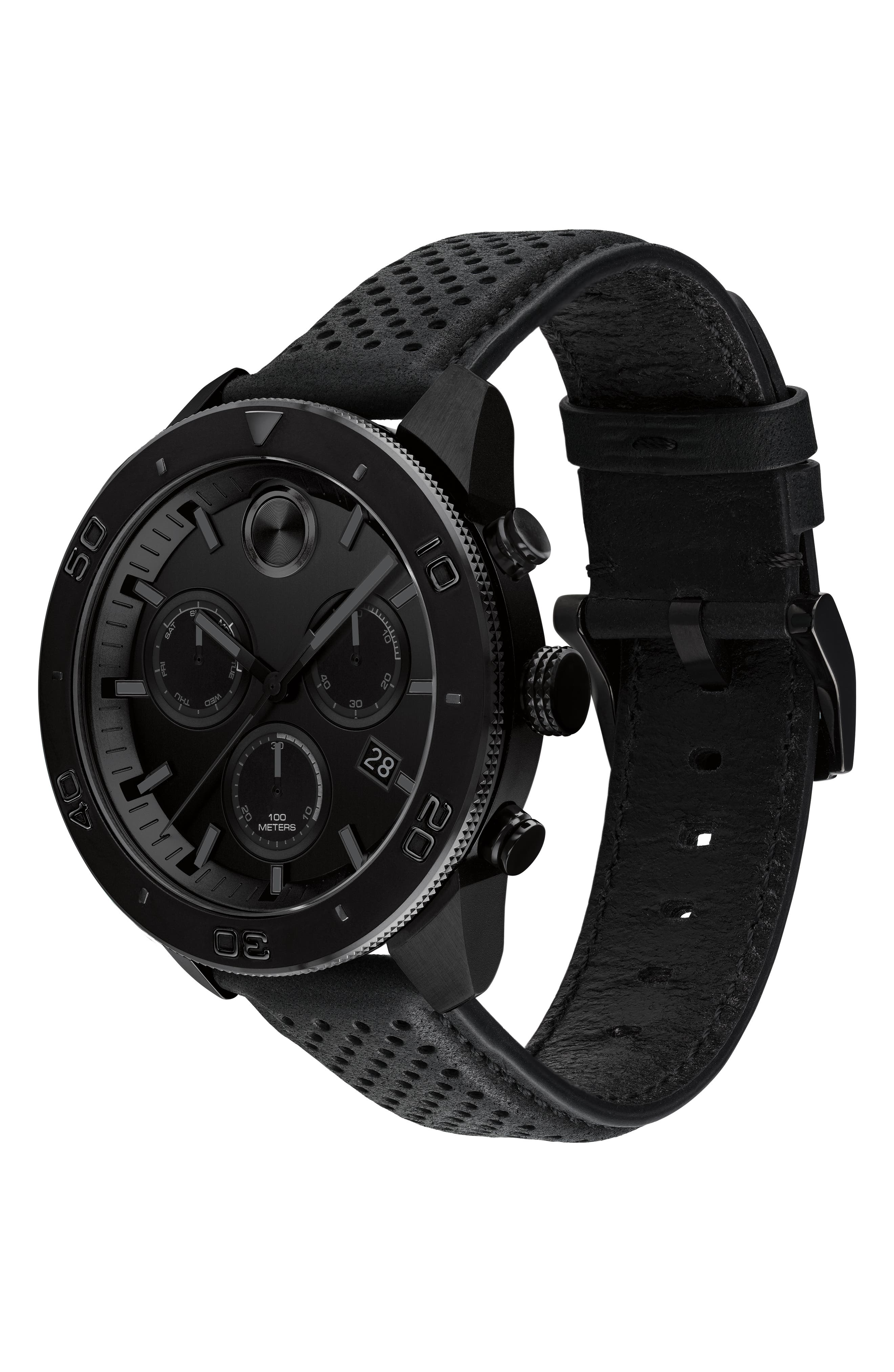 Bold Sport Chronograph Leather Strap Watch, 44mm,                             Alternate thumbnail 3, color,                             BLACK