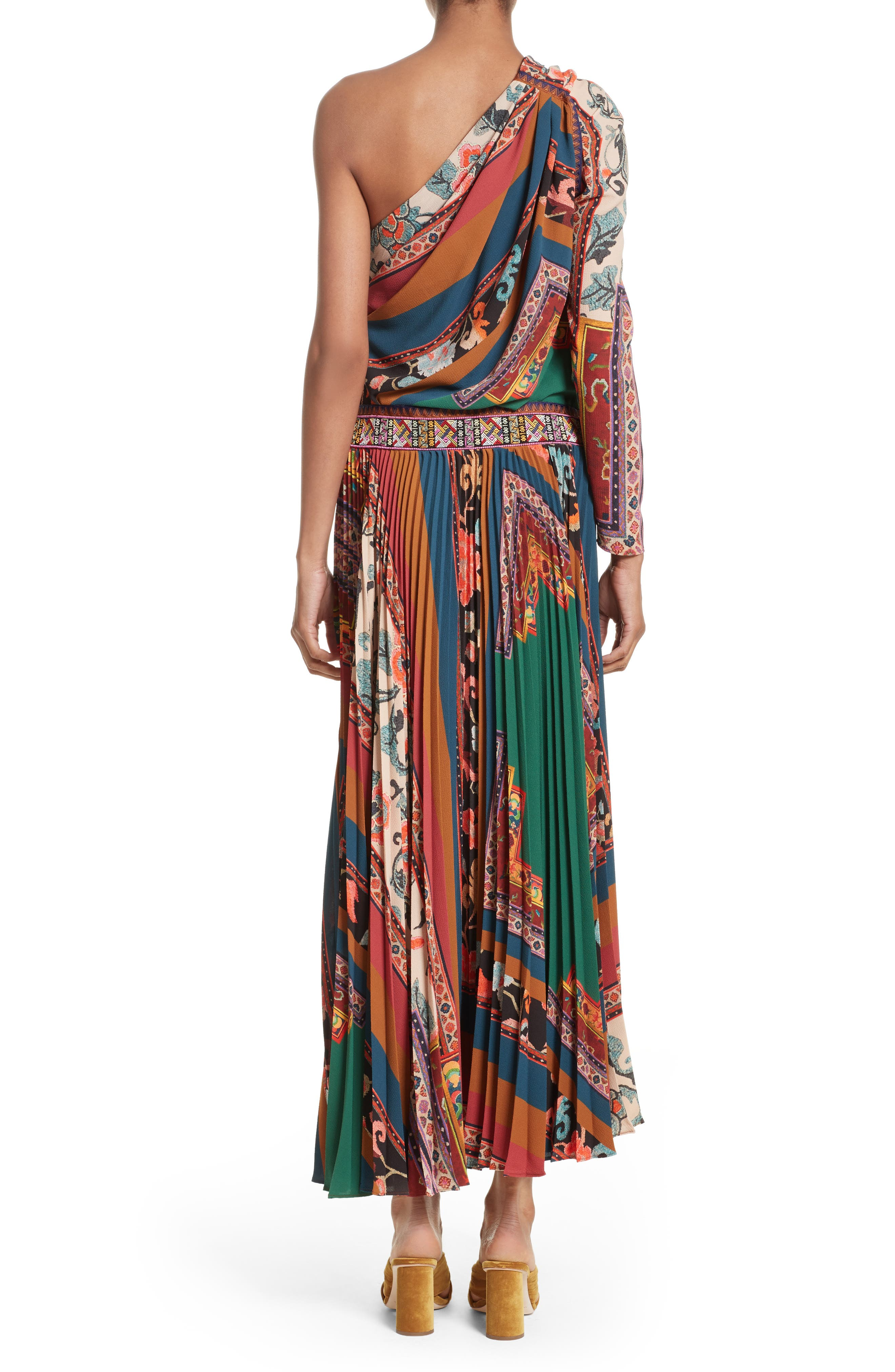Print One-Shoulder Maxi Dress,                             Alternate thumbnail 2, color,                             300
