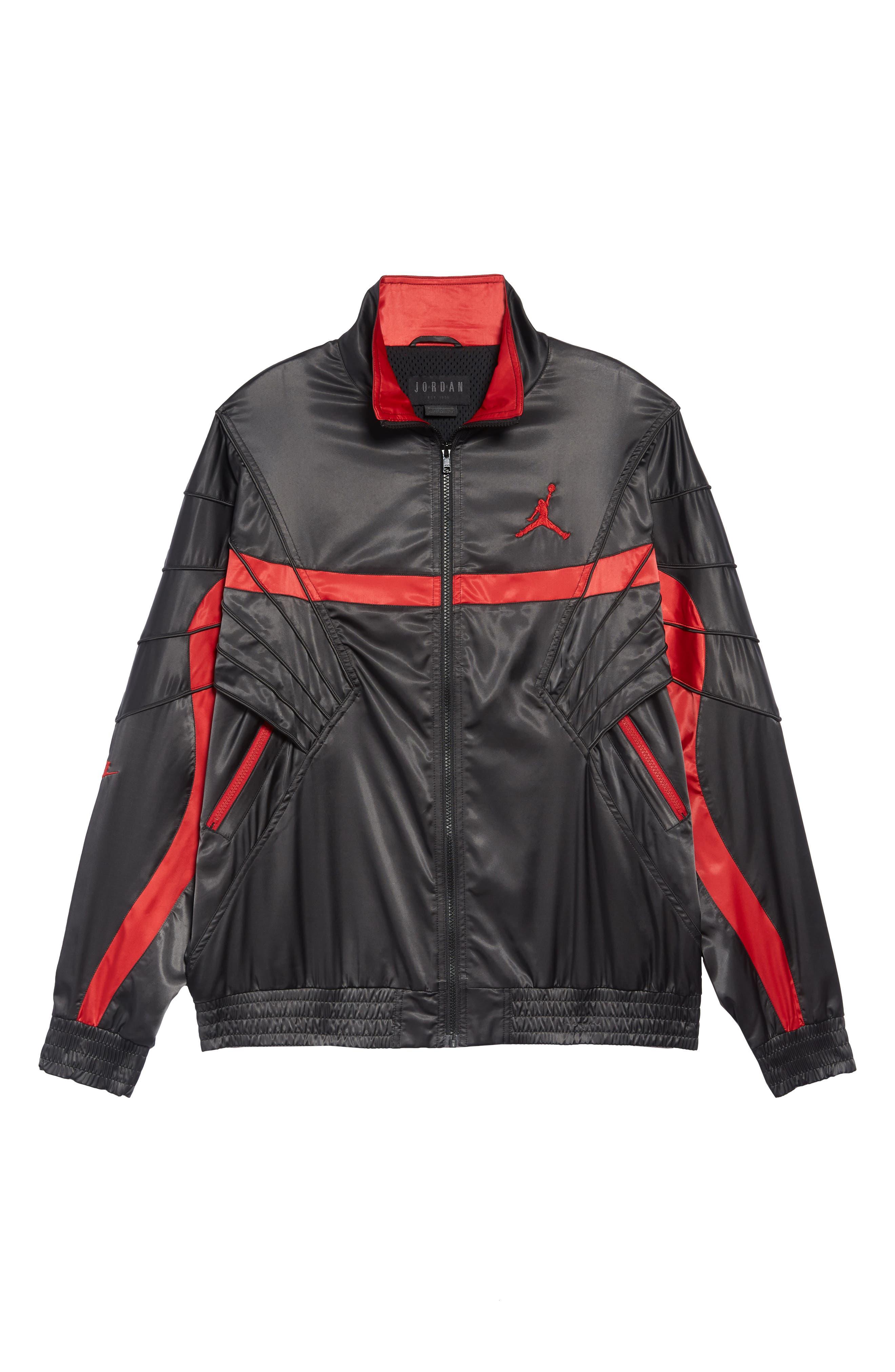 AJ5 Satin Track Jacket,                             Alternate thumbnail 6, color,                             BLACK