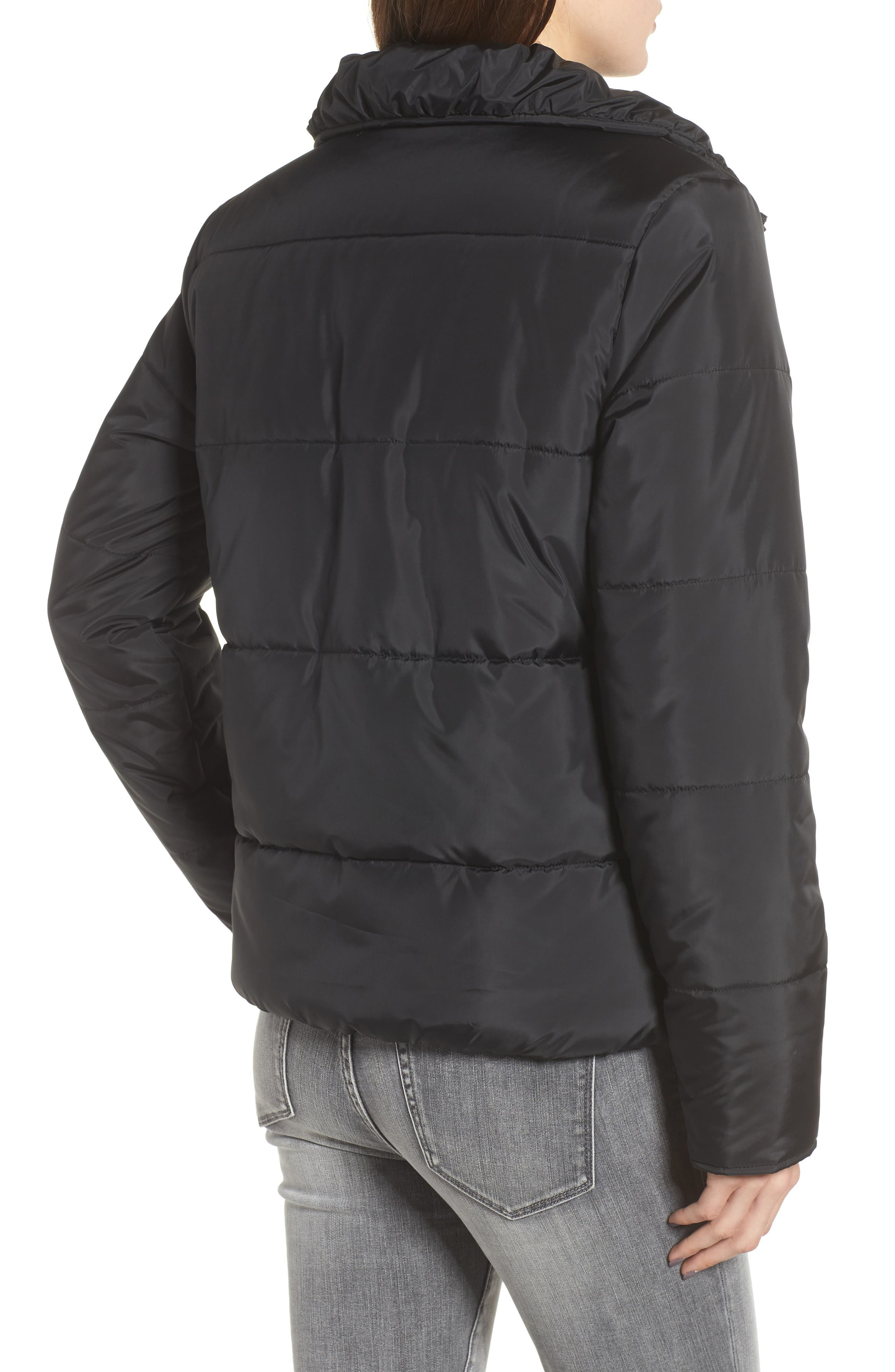 Rail Quilted Puffer Jacket,                             Alternate thumbnail 2, color,                             BLACK
