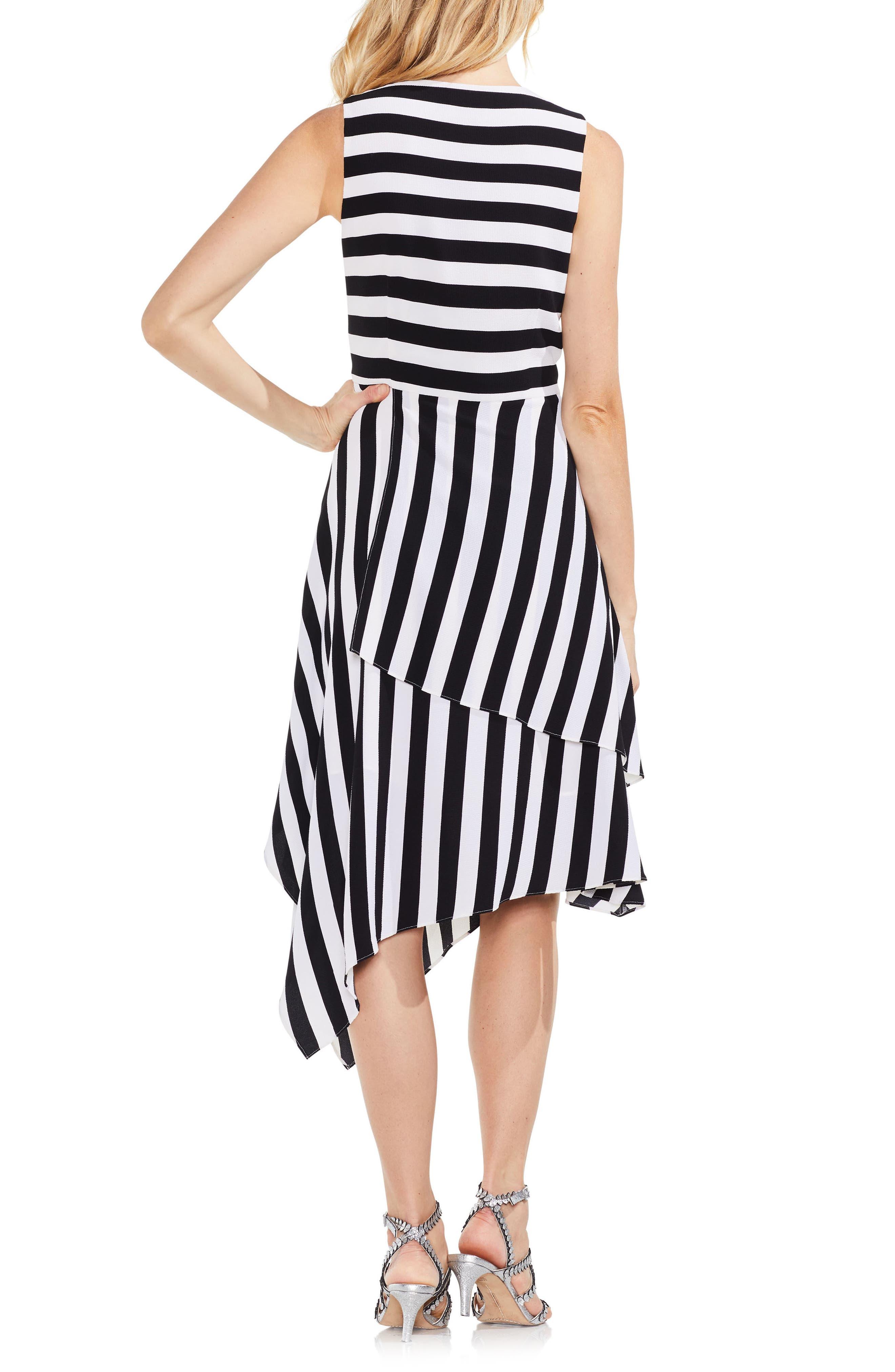 Spectator Stripe Asymmetrical Hem Dress,                             Alternate thumbnail 2, color,