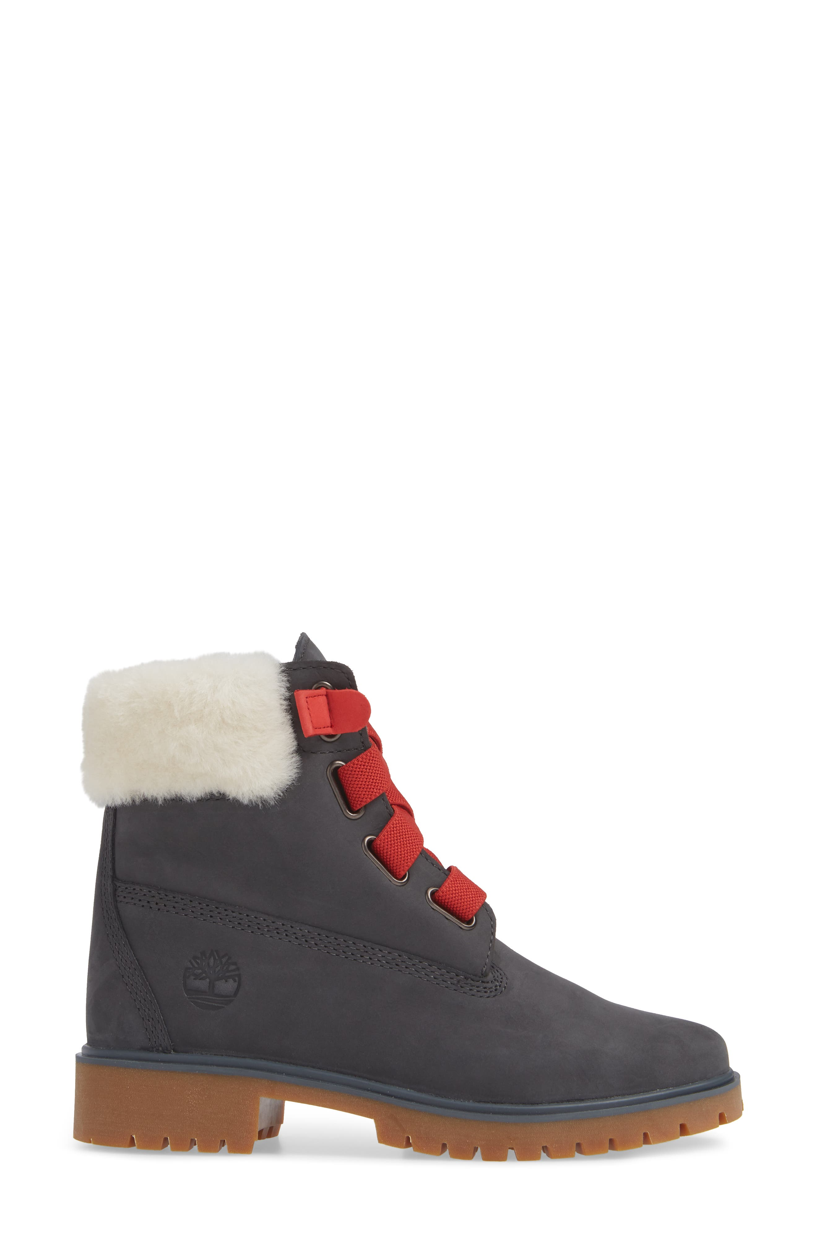 Convenience Waterproof Boot with Genuine Shearling Trim,                             Alternate thumbnail 3, color,                             065