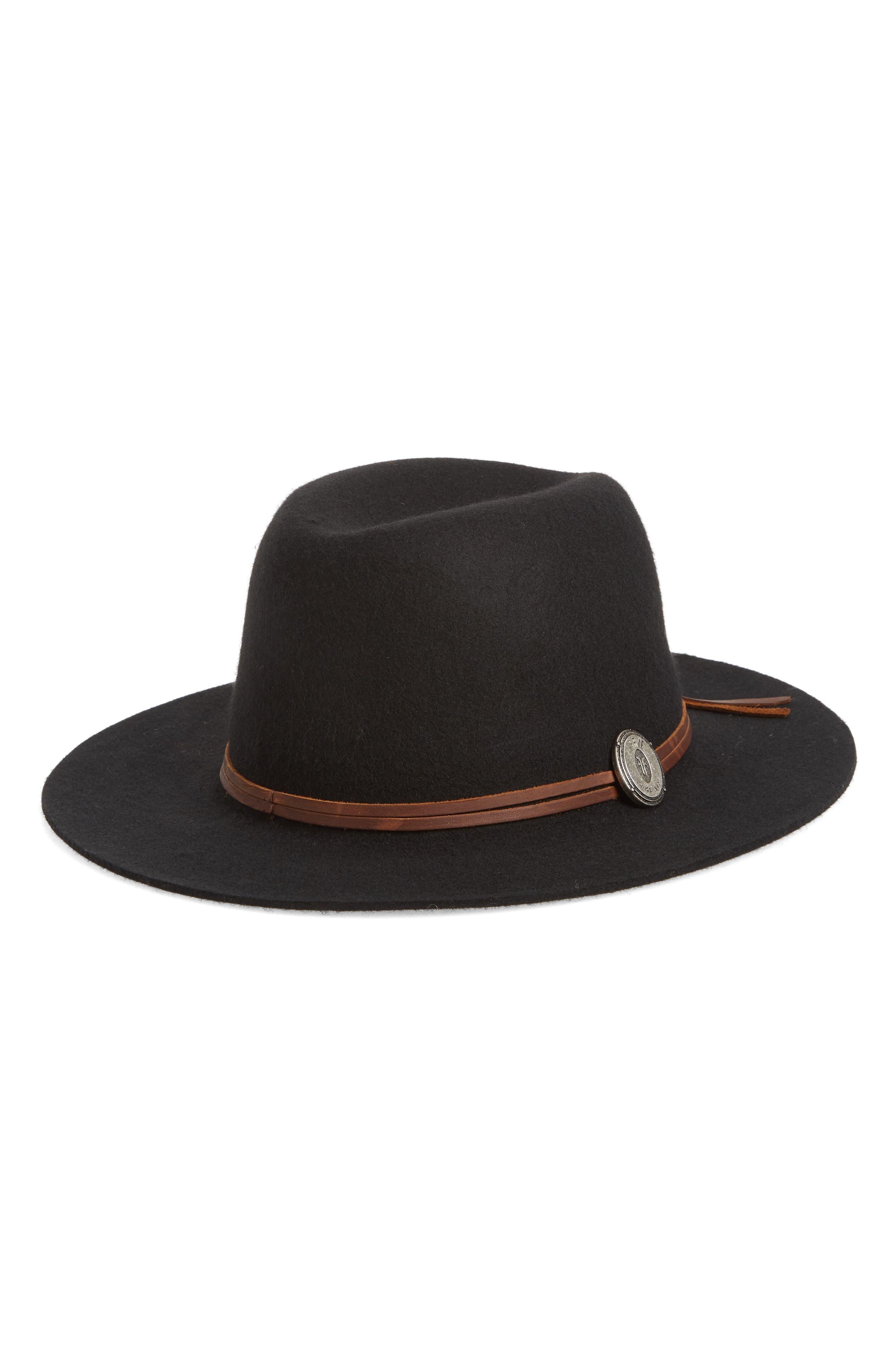 Cadet Dented Crown Wool Felt Hat,                             Main thumbnail 1, color,                             BLACK