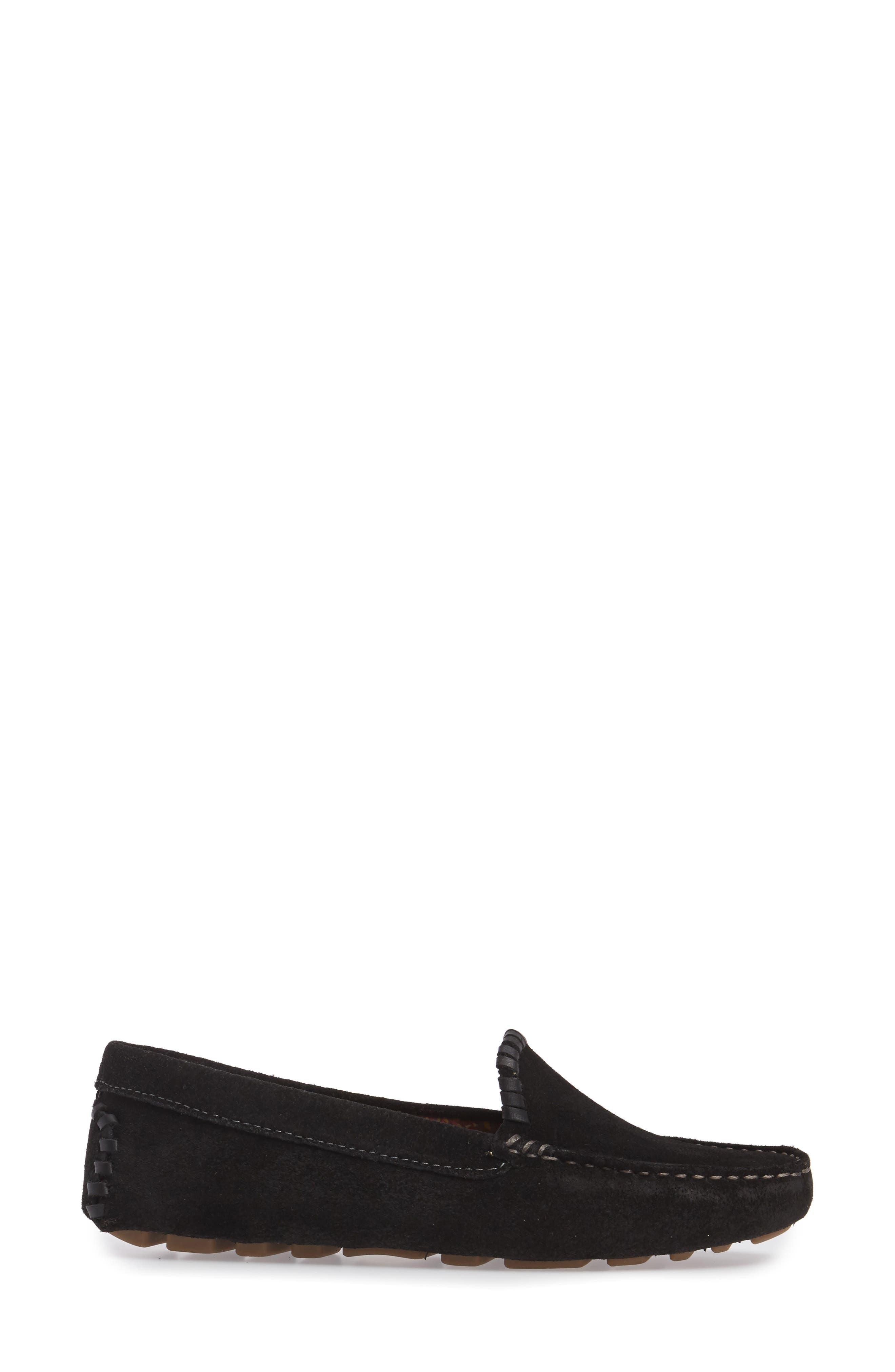 Taylor Driving Loafer,                             Alternate thumbnail 3, color,                             BLACK SUEDE