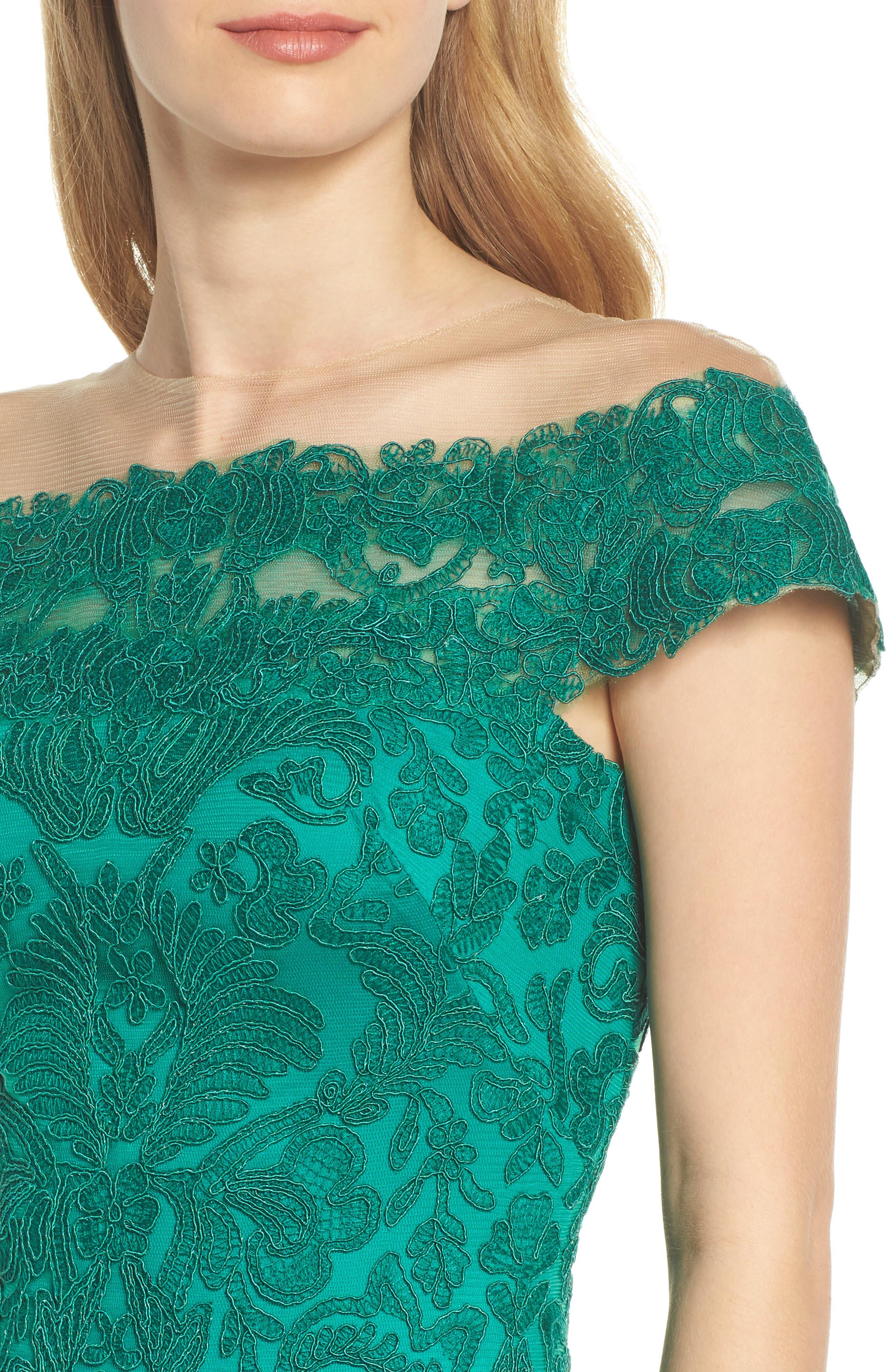 Illusion Off the Shoulder Lace Trumpet Gown,                             Alternate thumbnail 4, color,                             326