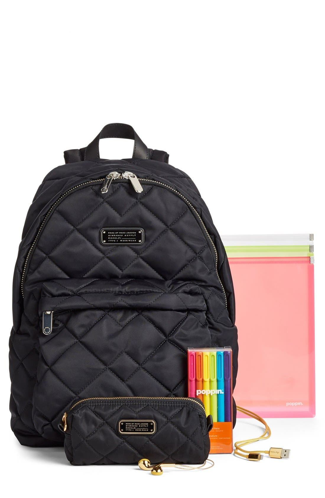 MARC BY MARC JACOBS 'Crosby' Quilted Nylon Backpack,                             Alternate thumbnail 2, color,                             001