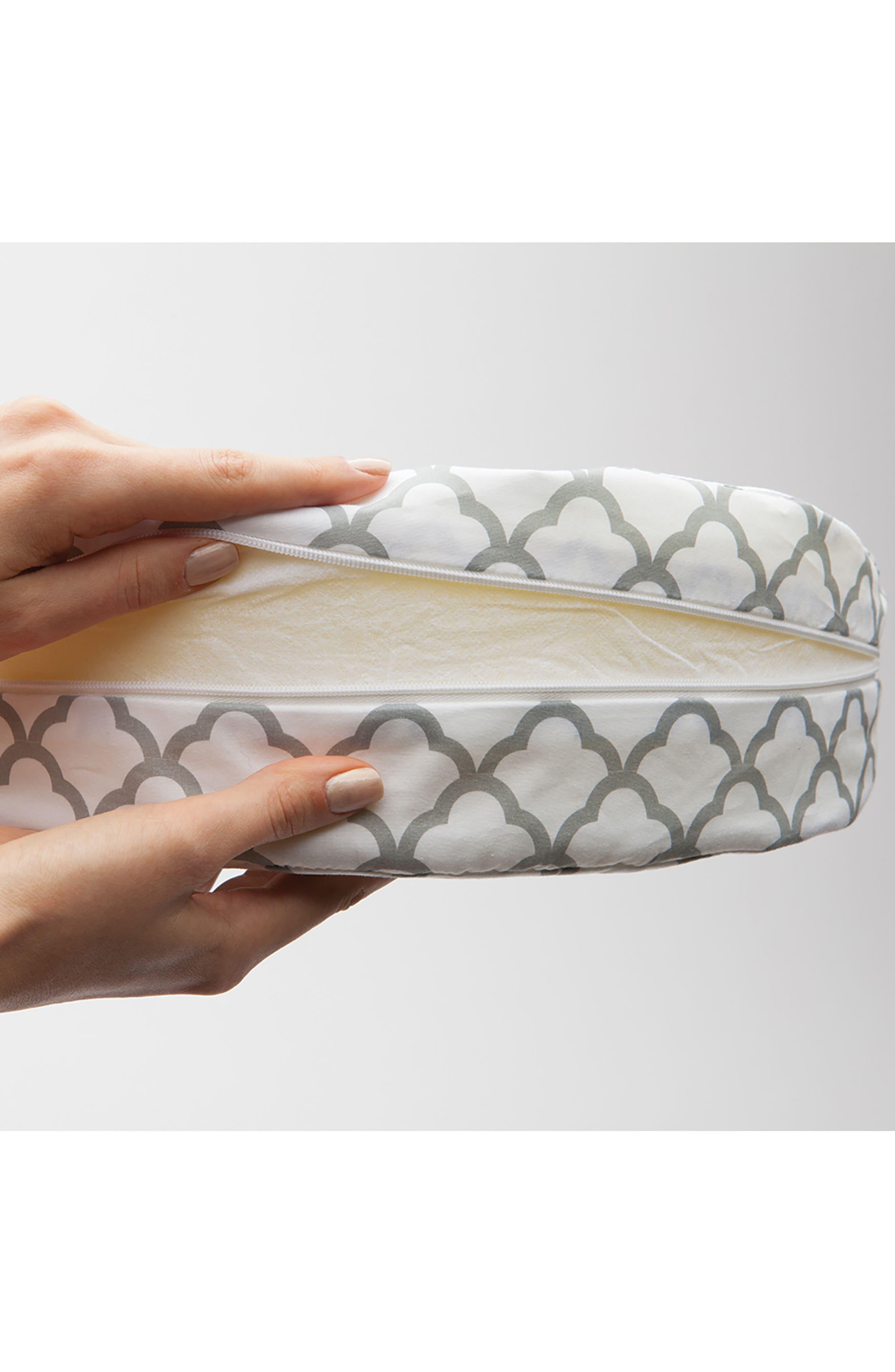 Pregnancy Wedge Cushion & Slipcover,                             Alternate thumbnail 4, color,                             WHITE TRELLIS