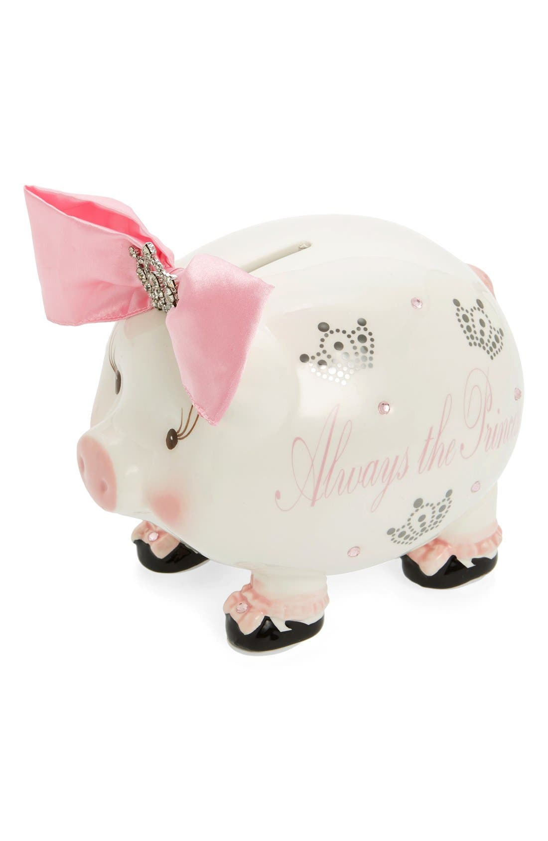 'Always the Princess' Jeweled Piggy Bank,                             Main thumbnail 1, color,                             PINK/ IVORY