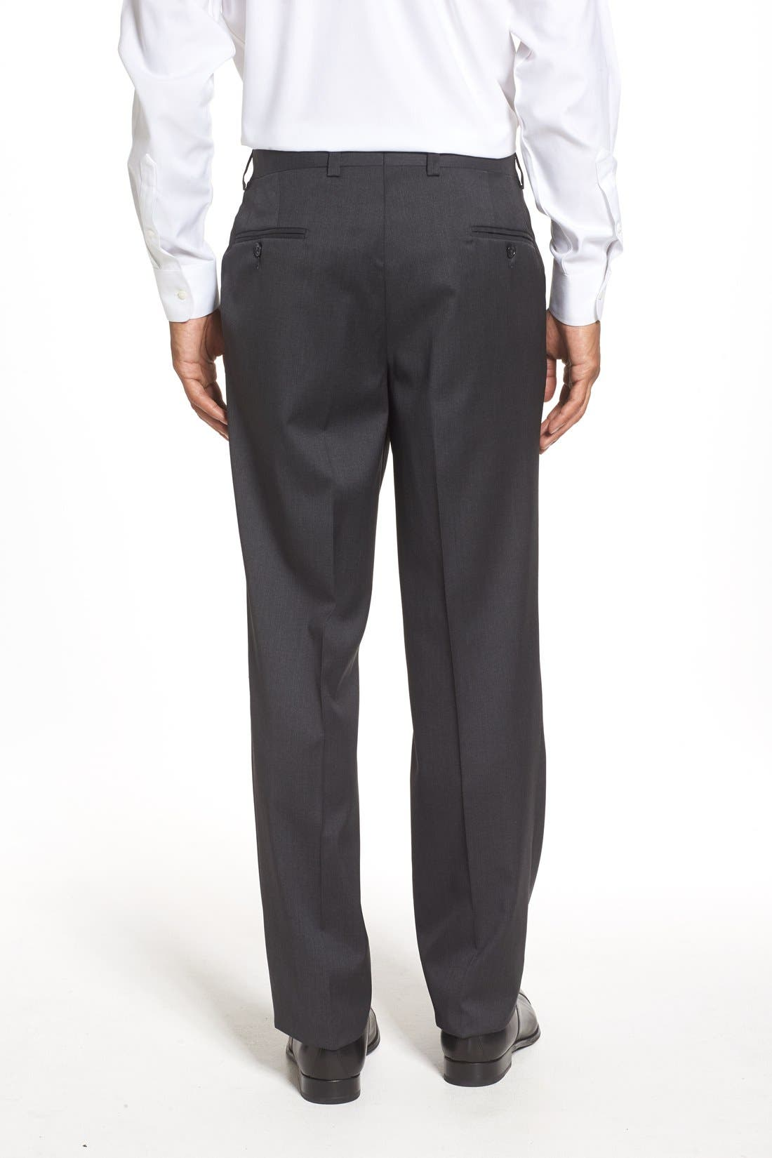 RIVIERA,                             Flat Front Solid Wool Trousers,                             Alternate thumbnail 3, color,                             010