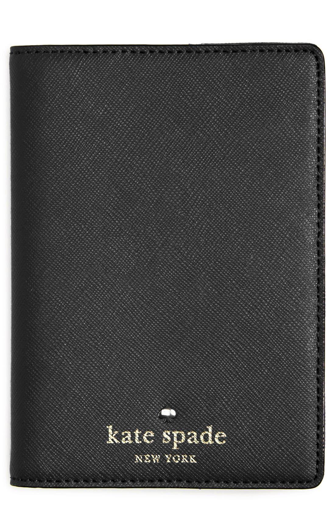 KATE SPADE NEW YORK,                             'cedar street' leather passport holder,                             Main thumbnail 1, color,                             001