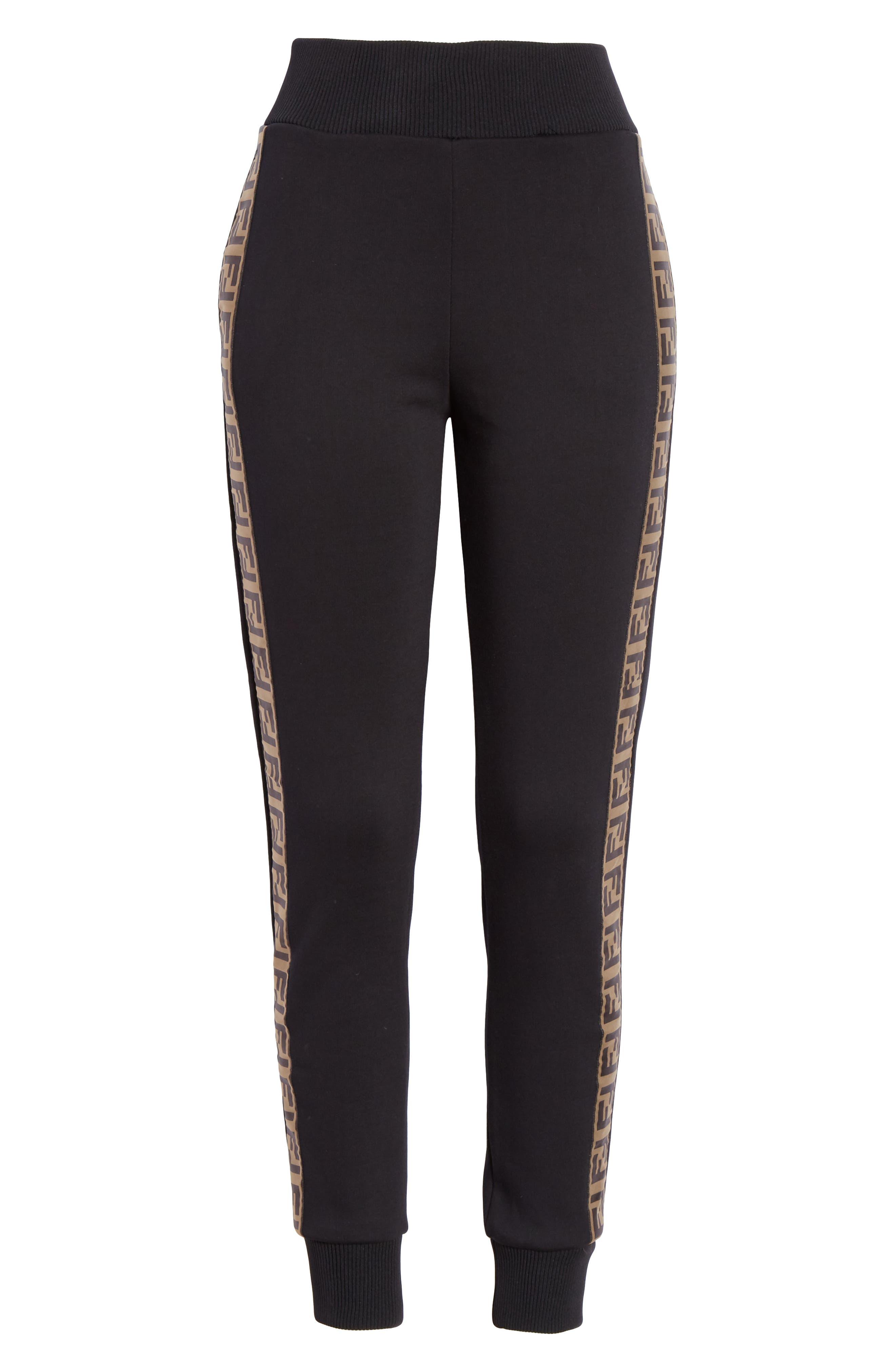 FENDI,                             x FILA Mania Logo Jersey Track Pants,                             Alternate thumbnail 6, color,                             BLACK