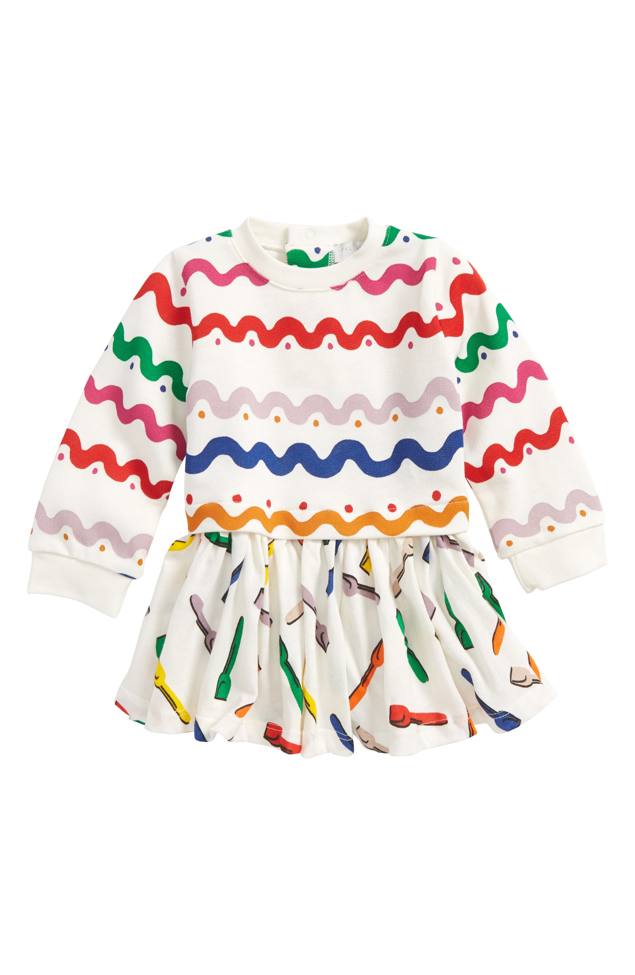 Kids India Squiggly Dress,                             Main thumbnail 1, color,                             WIGGLE TILE PRINT