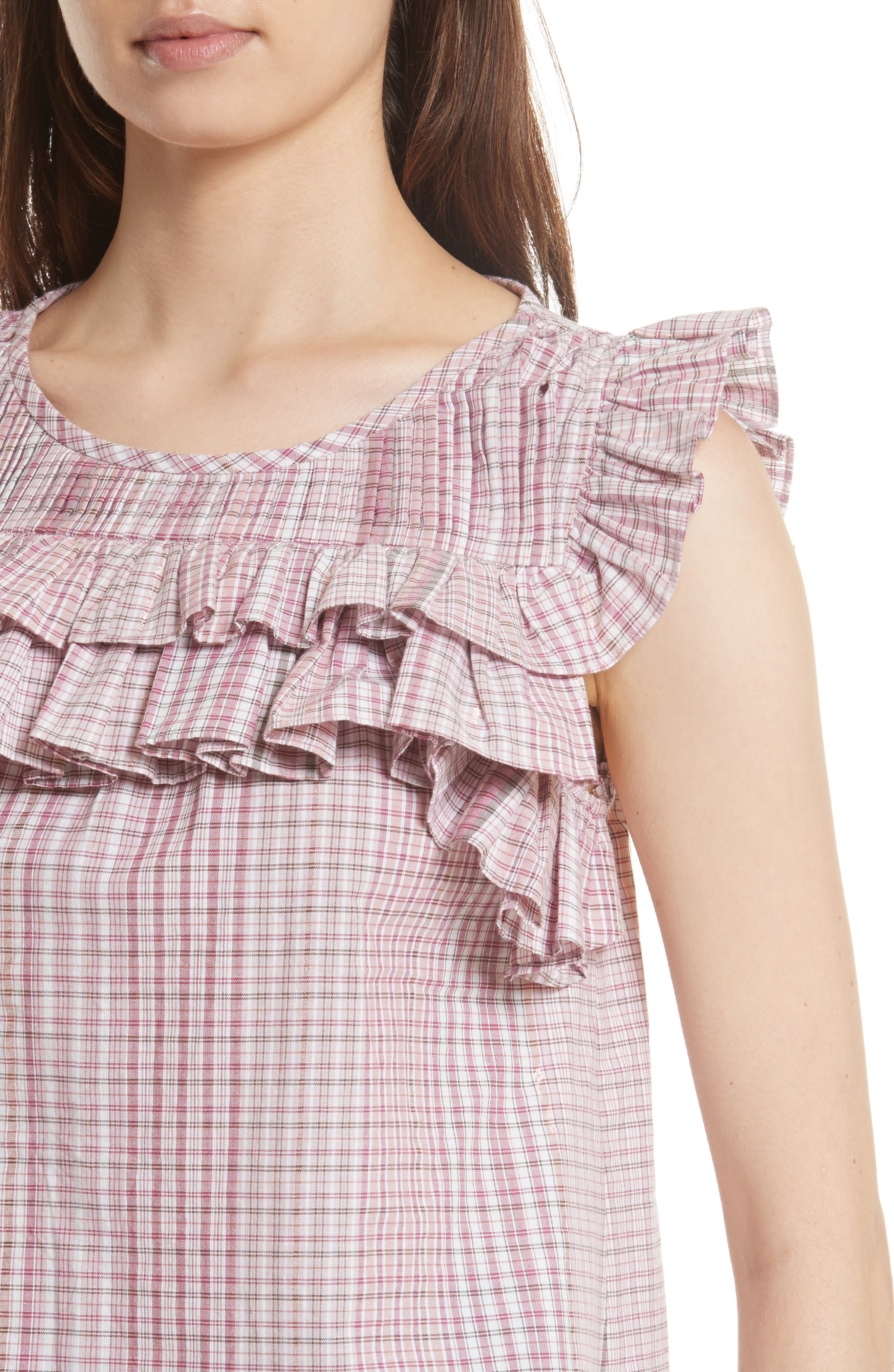 Lurex<sup>®</sup> Plaid Top,                             Alternate thumbnail 4, color,