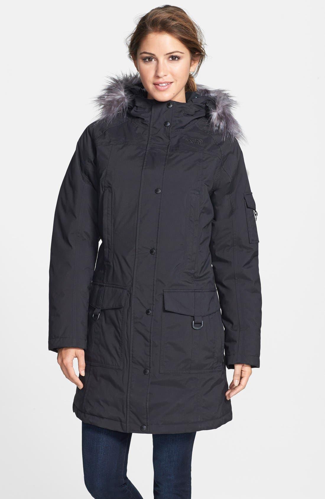 'Juneau' Faux Fur Trim Hooded Down Jacket, Main, color, 001