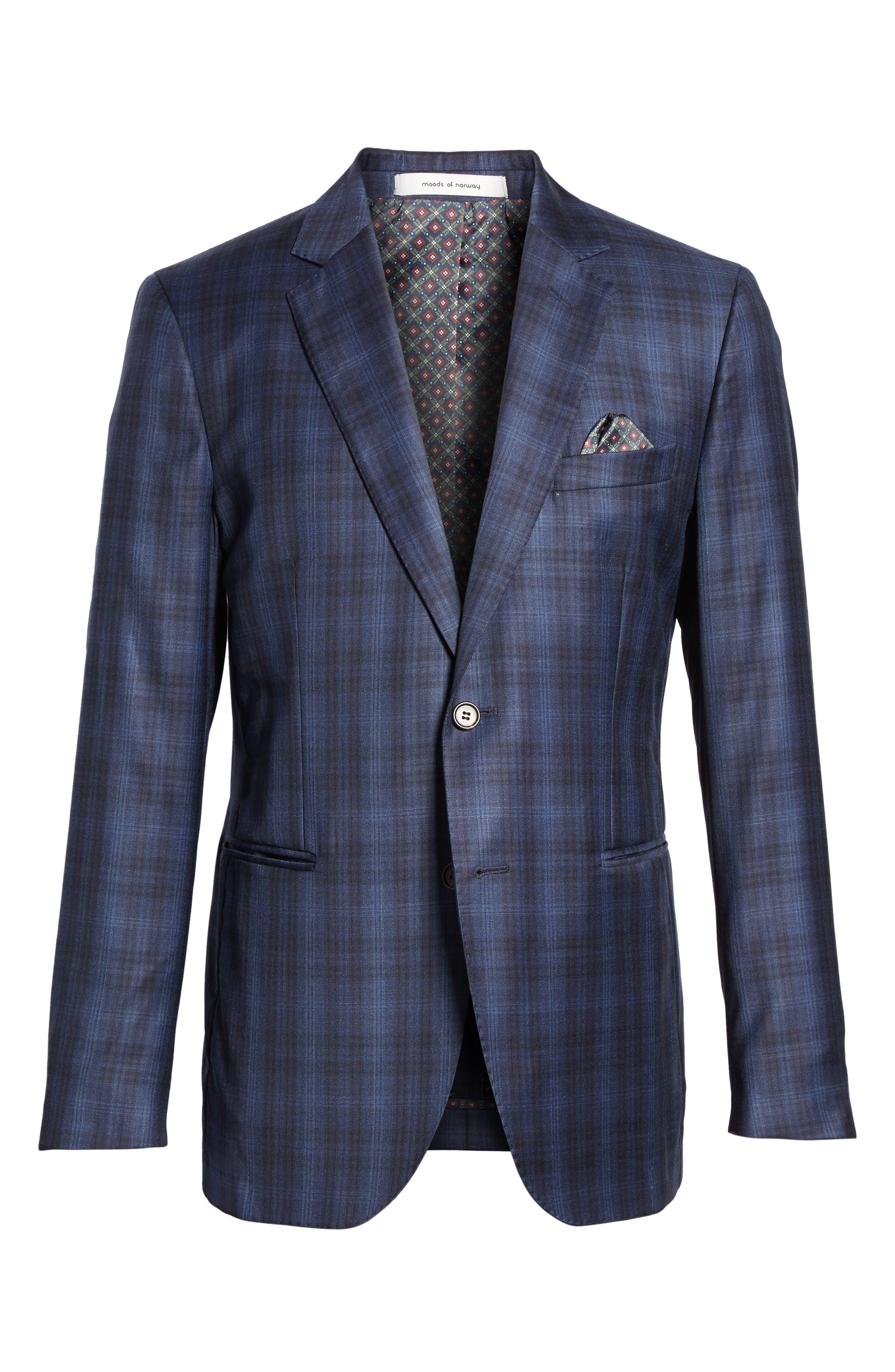 Midnatt Trim Fit Plaid Wool Sport Coat,                             Alternate thumbnail 5, color,                             465
