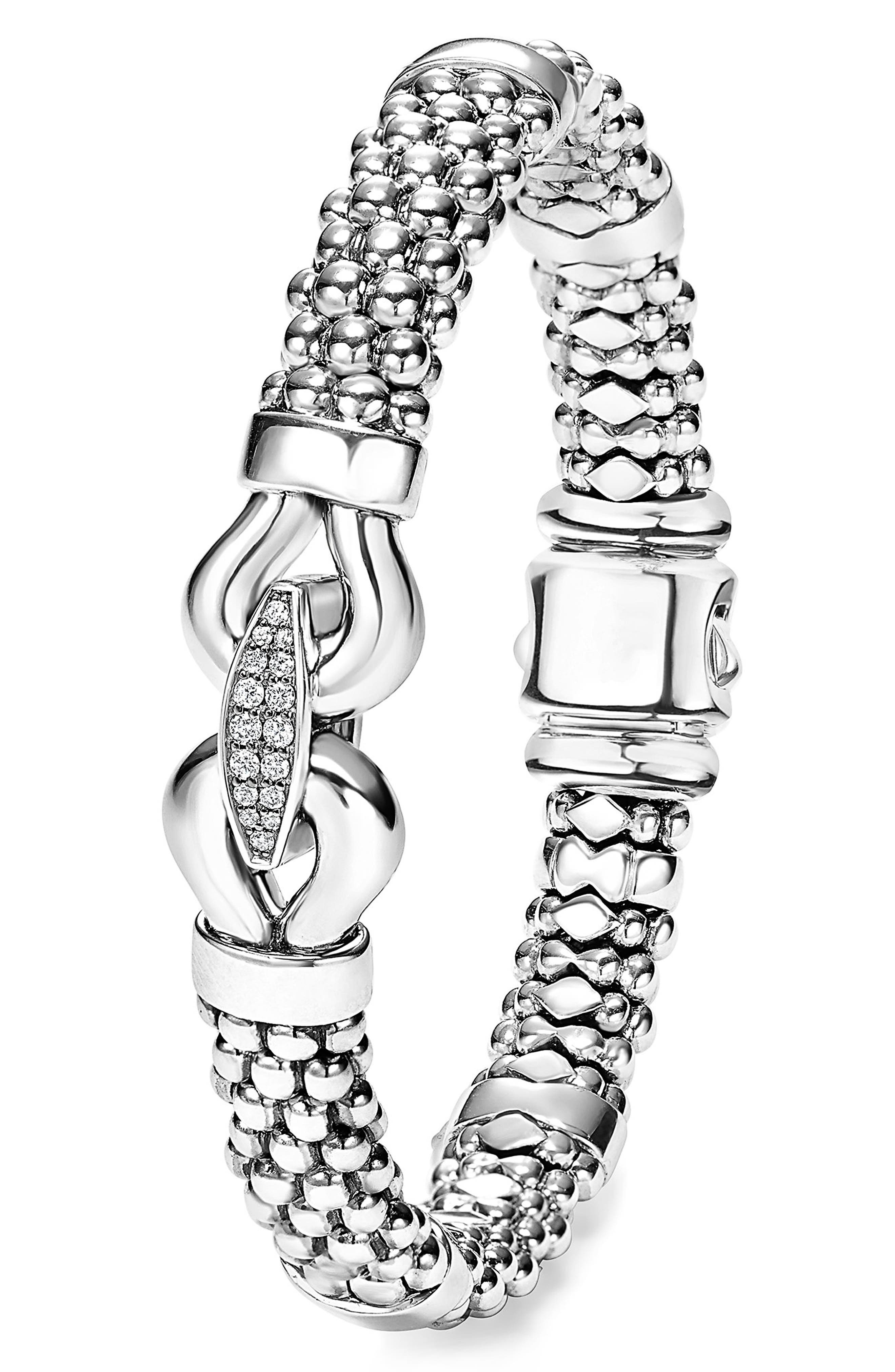 'Derby' Diamond Buckle Rope Bracelet,                             Alternate thumbnail 2, color,                             STERLING SILVER