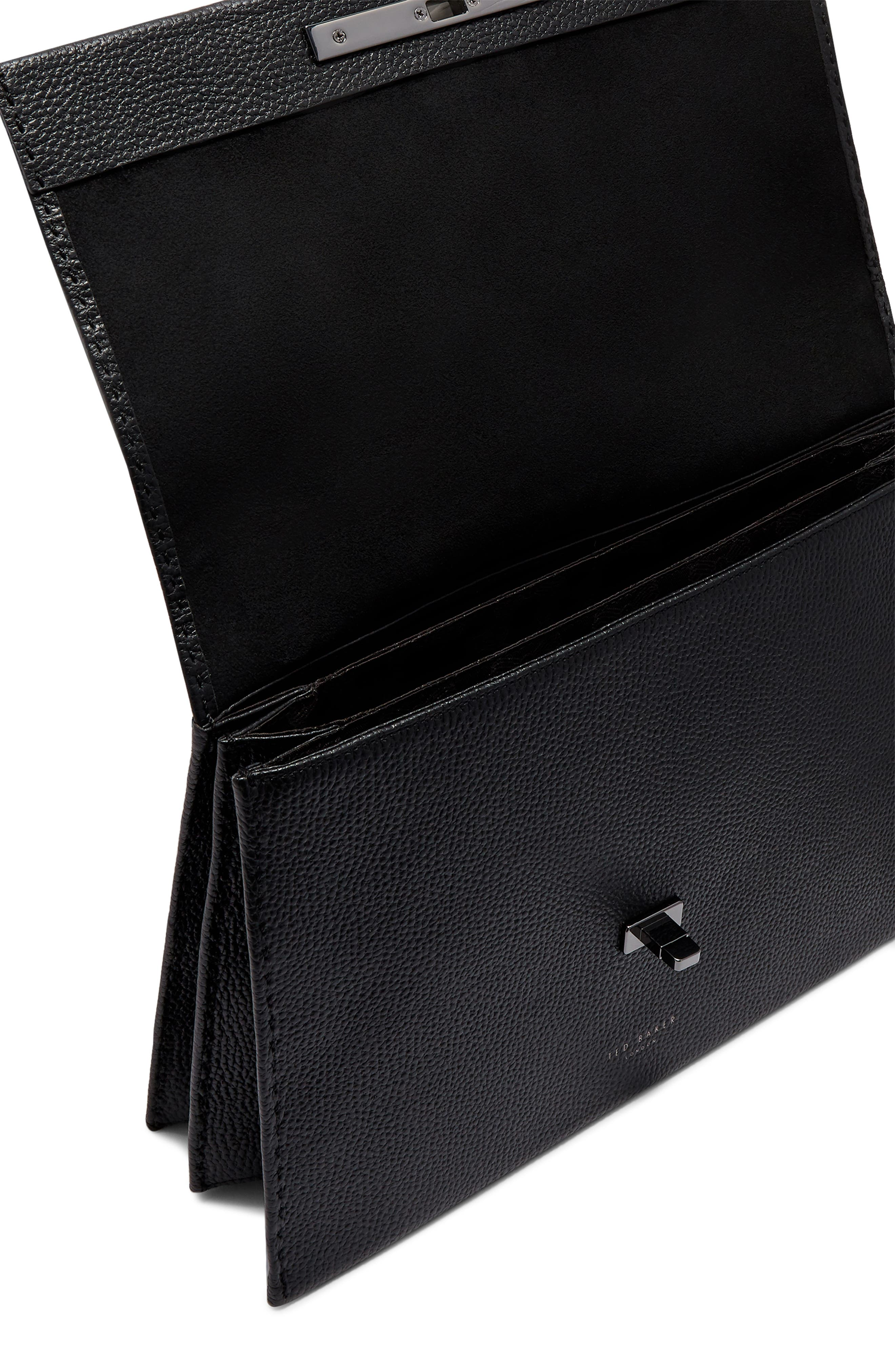 Jessi Leather Shoulder Bag,                             Alternate thumbnail 3, color,                             BLACK