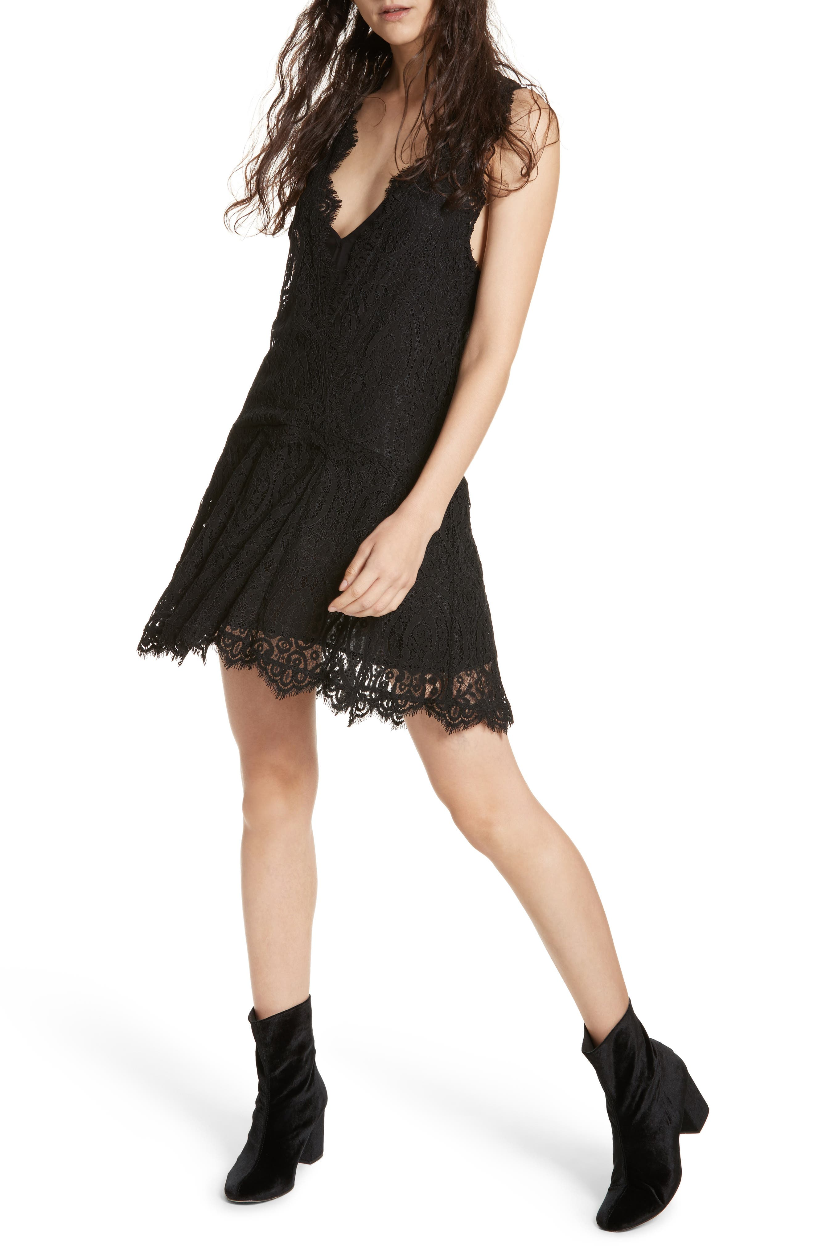 Heart in Two Lace Minidress,                             Main thumbnail 1, color,                             001