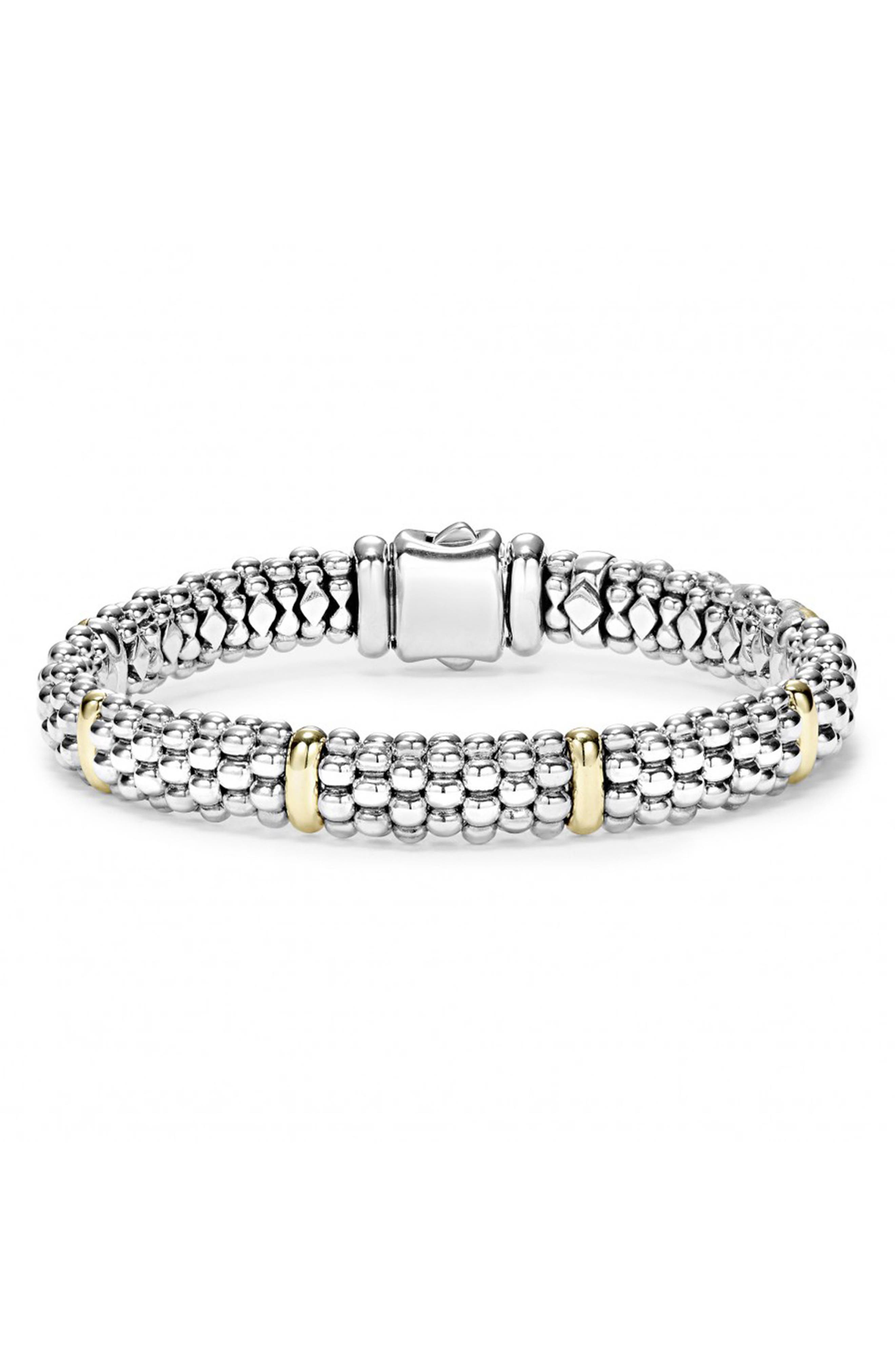 Caviar Rope Bracelet,                             Main thumbnail 1, color,                             SILVER/ GOLD
