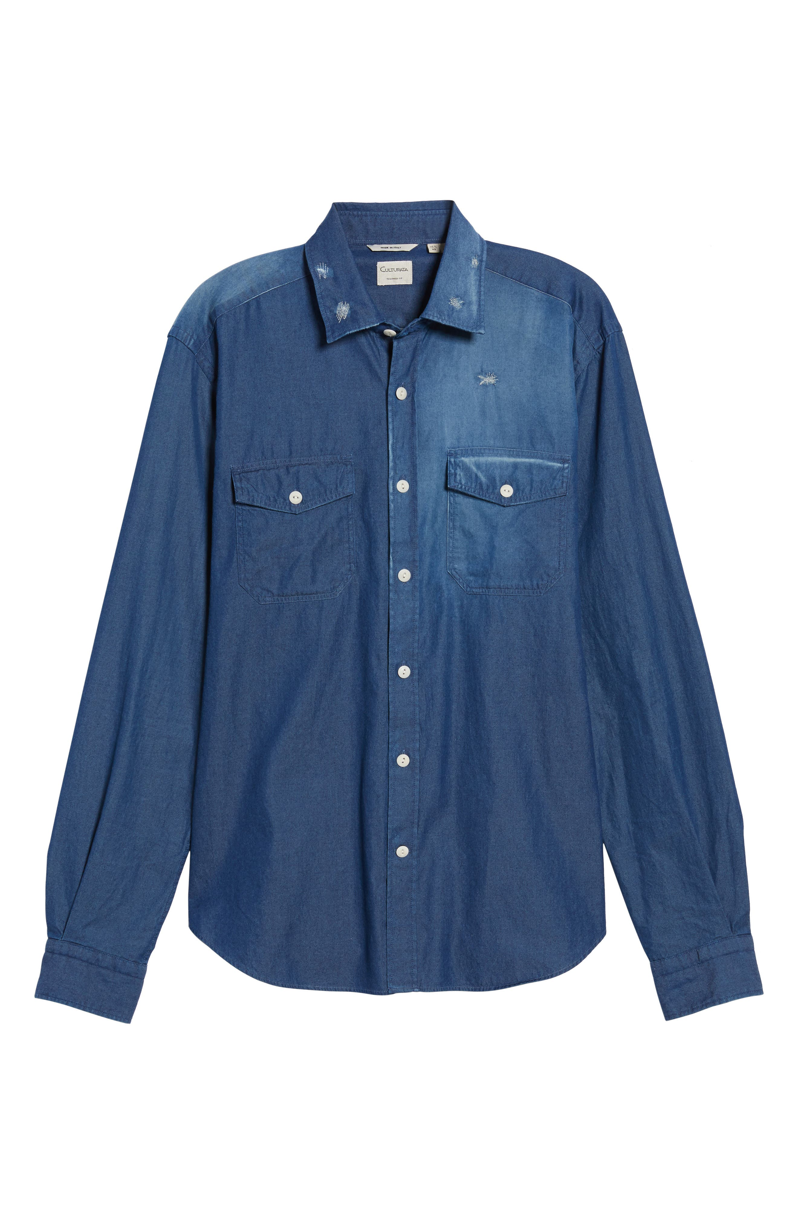 Italian Fade Wash Sport Shirt,                             Alternate thumbnail 6, color,                             400