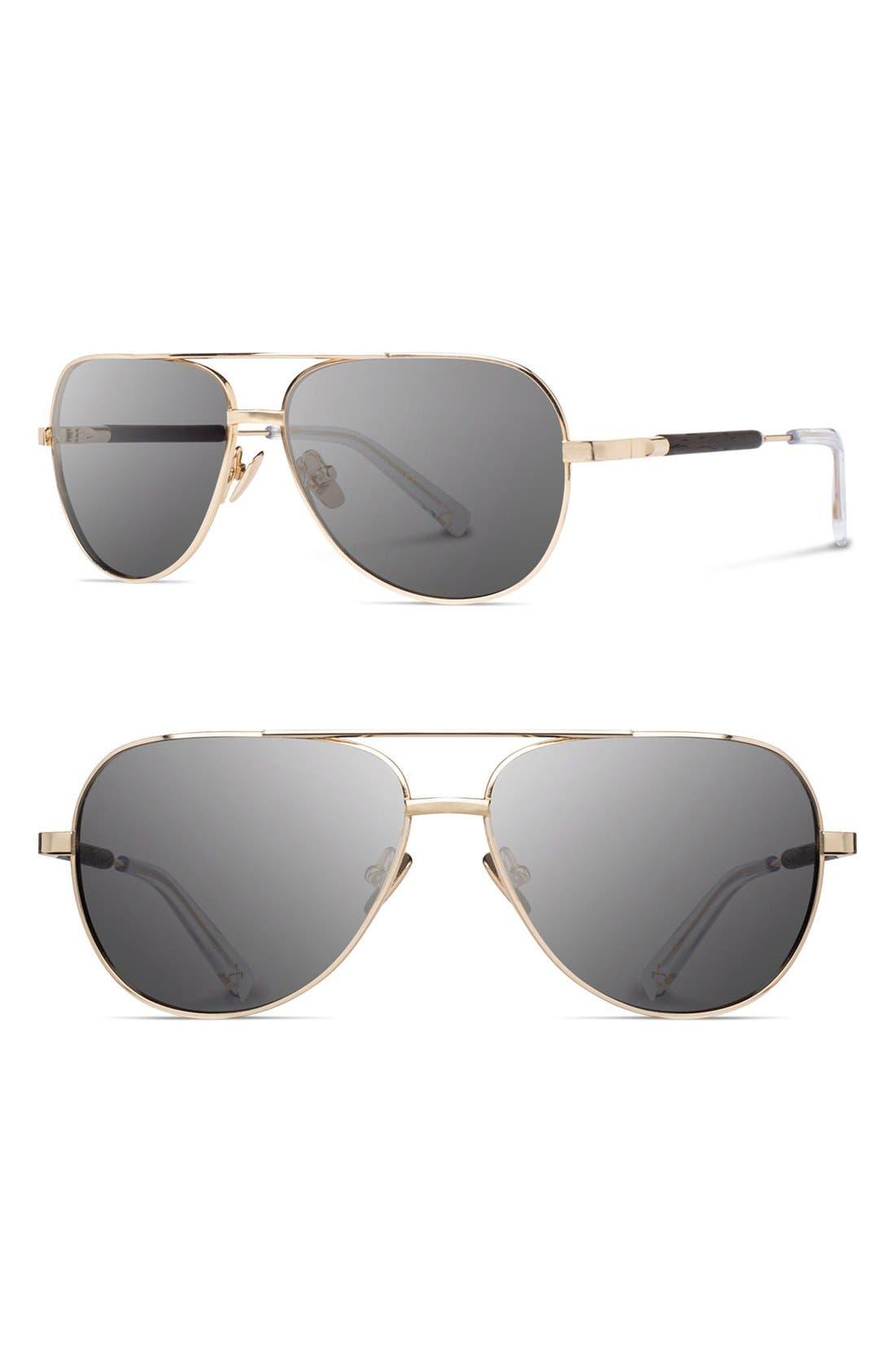 'Redmond' 53mm Titanium & Wood Aviator Sunglasses,                             Main thumbnail 2, color,