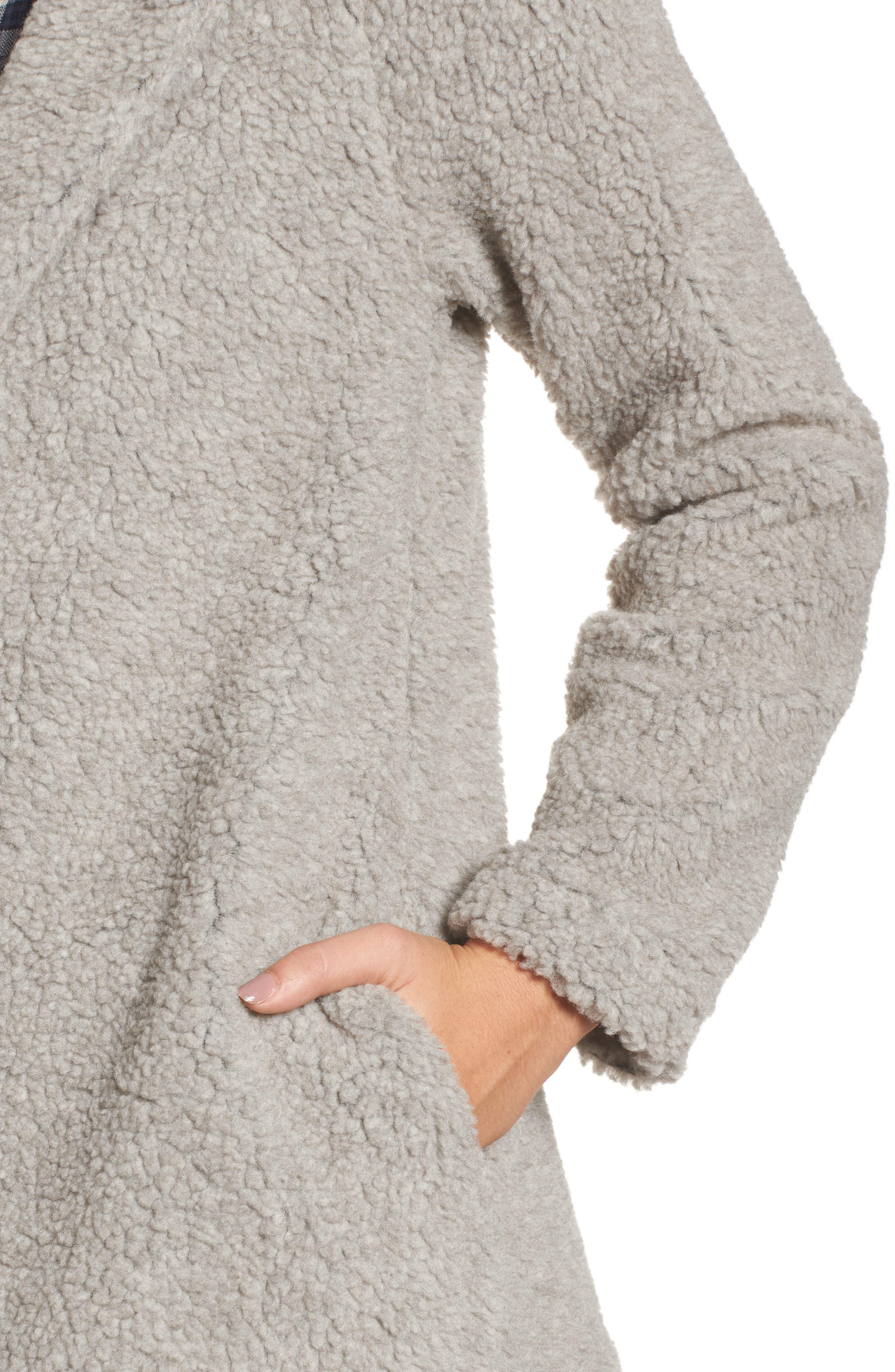 Hooded Faux Fur Jacket,                             Alternate thumbnail 4, color,