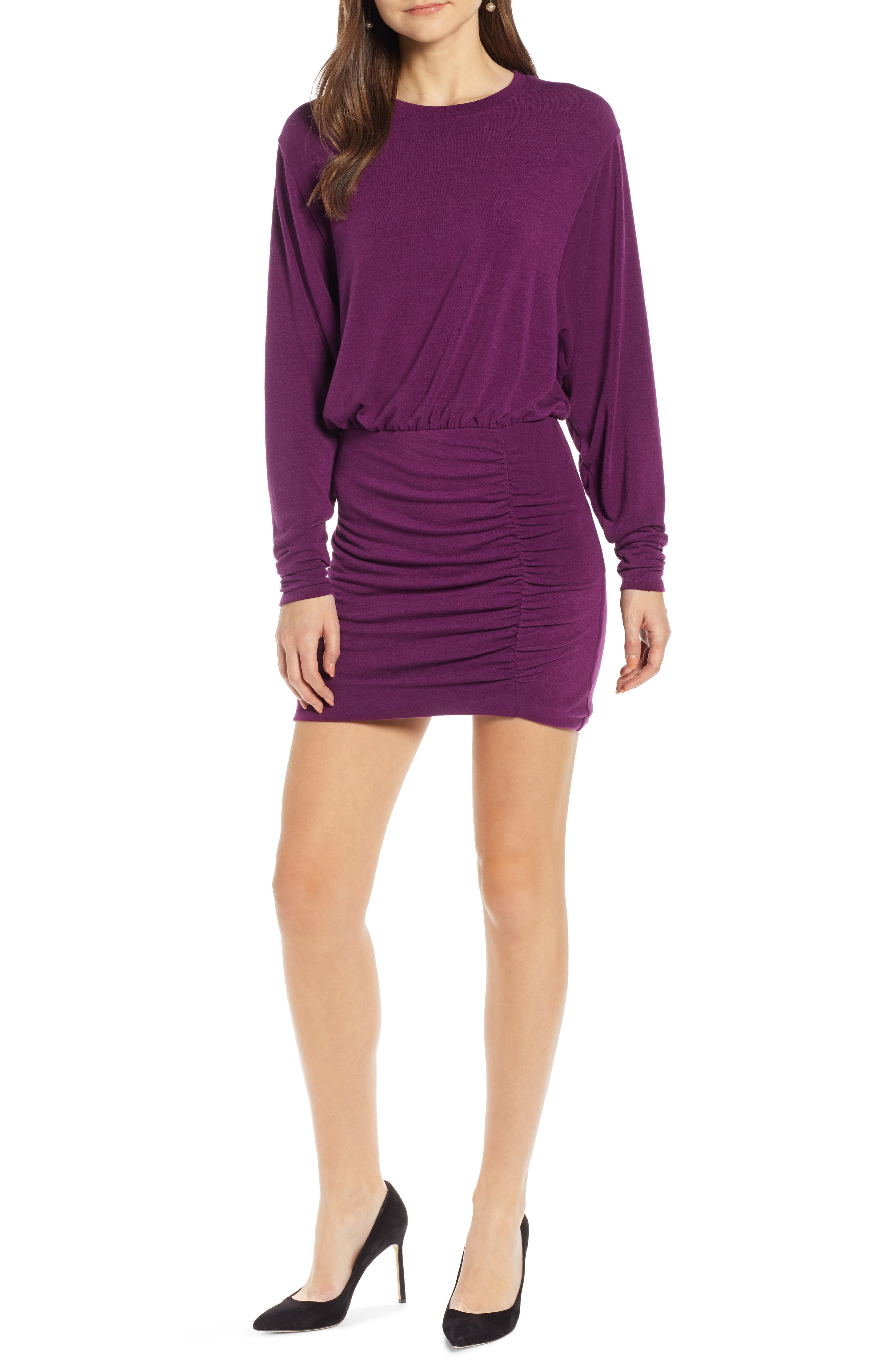 Ruched Detail Dress, Main, color, PURPLE IMPERIAL