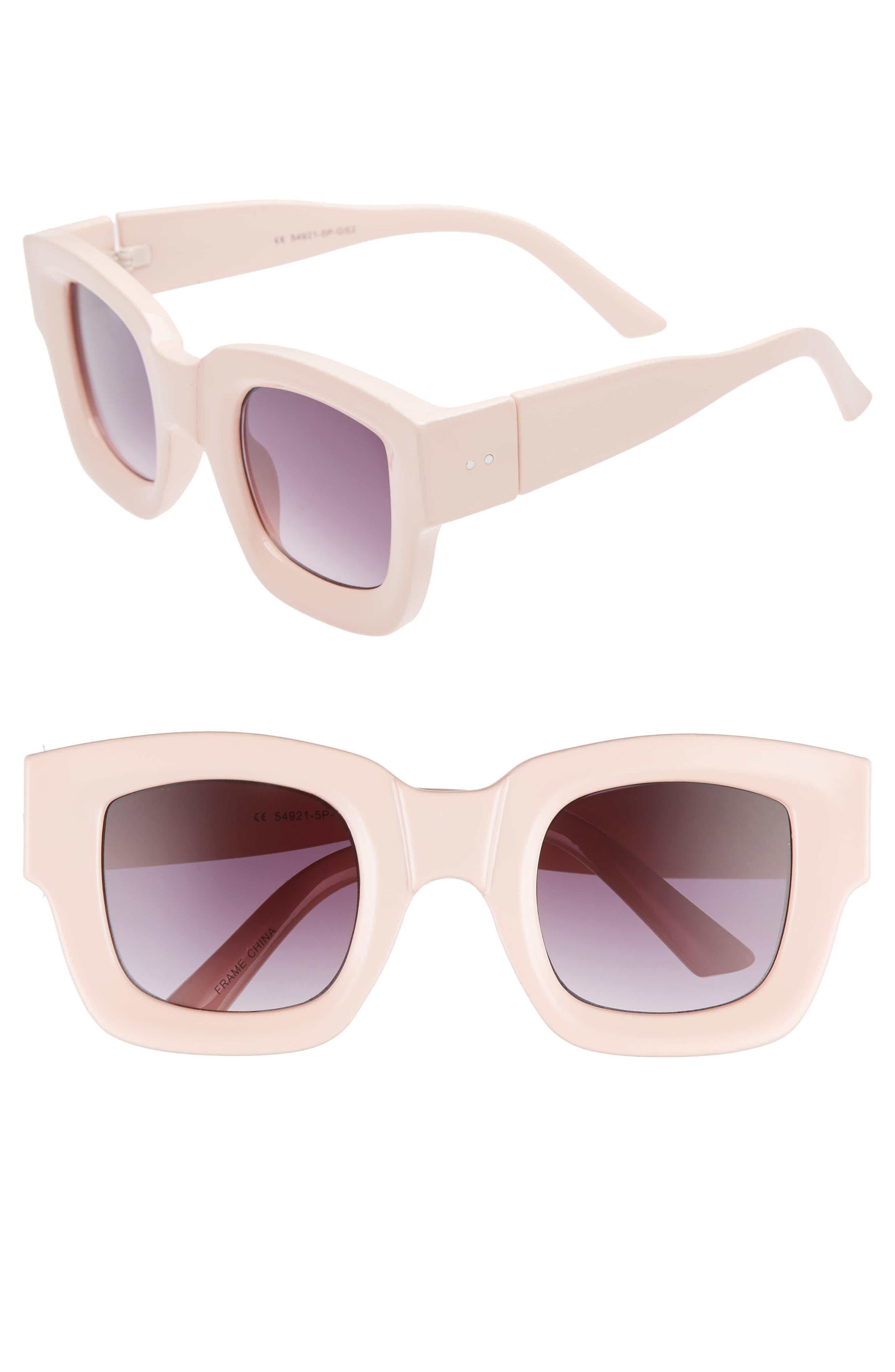 45mm Square Sunglasses,                             Main thumbnail 1, color,                             PALE PINK