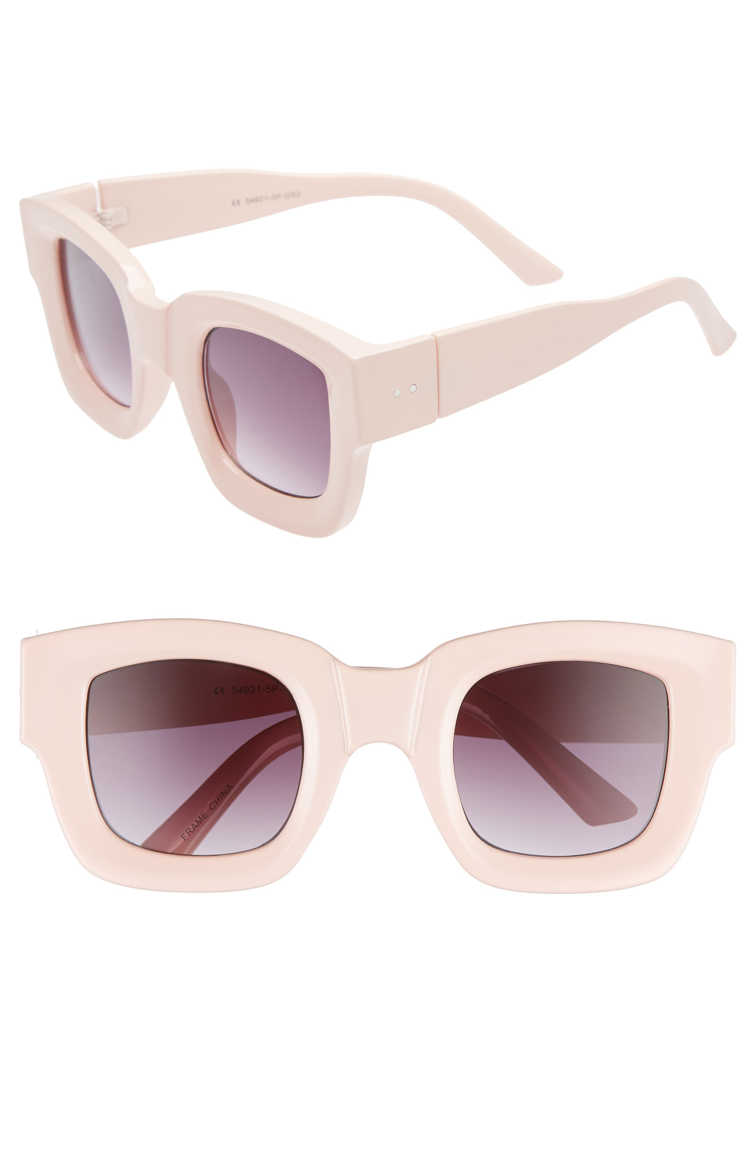 45mm Square Sunglasses,                         Main,                         color, PALE PINK