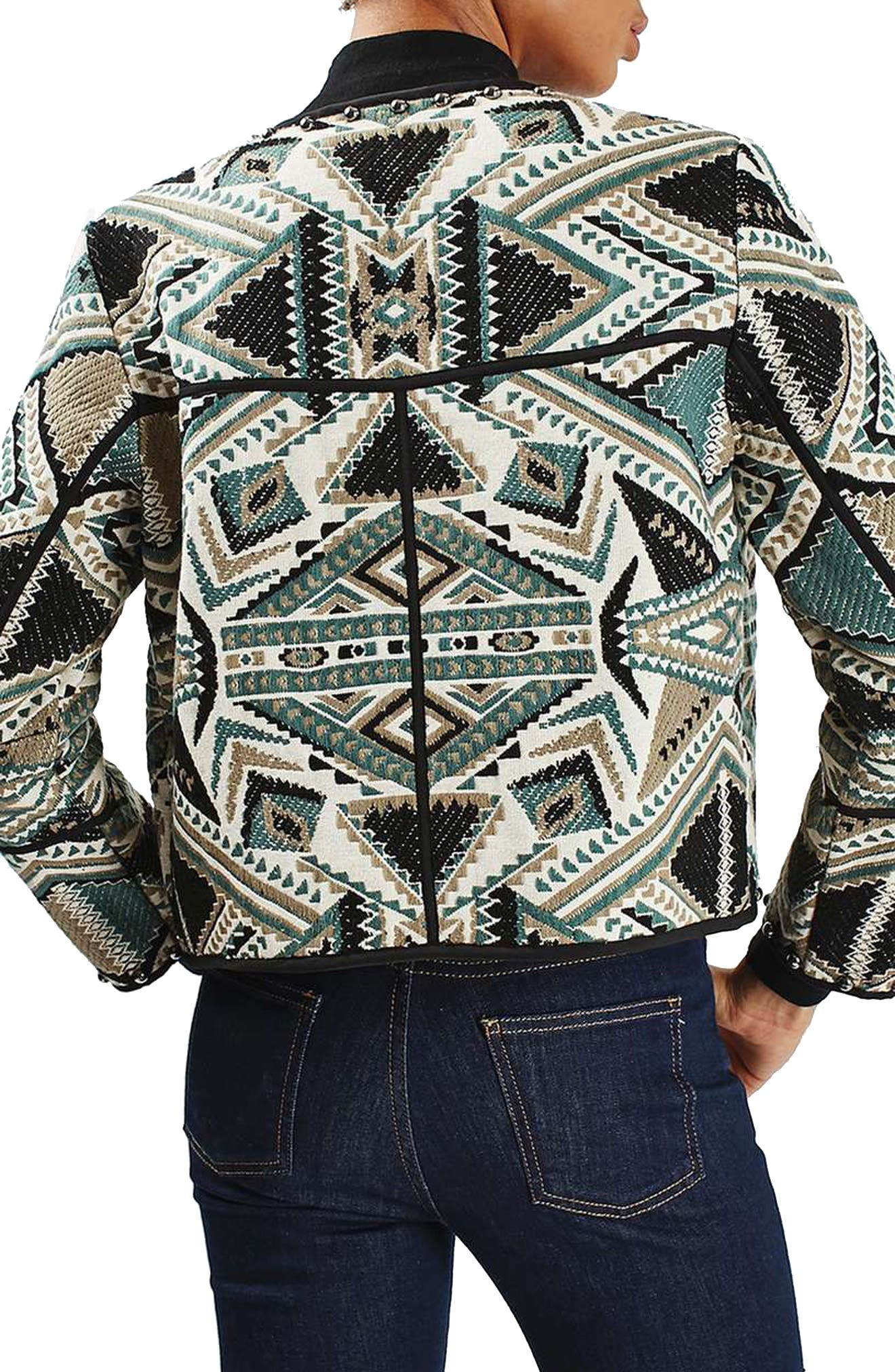 Studded Embroidered Jacket,                             Alternate thumbnail 2, color,                             020