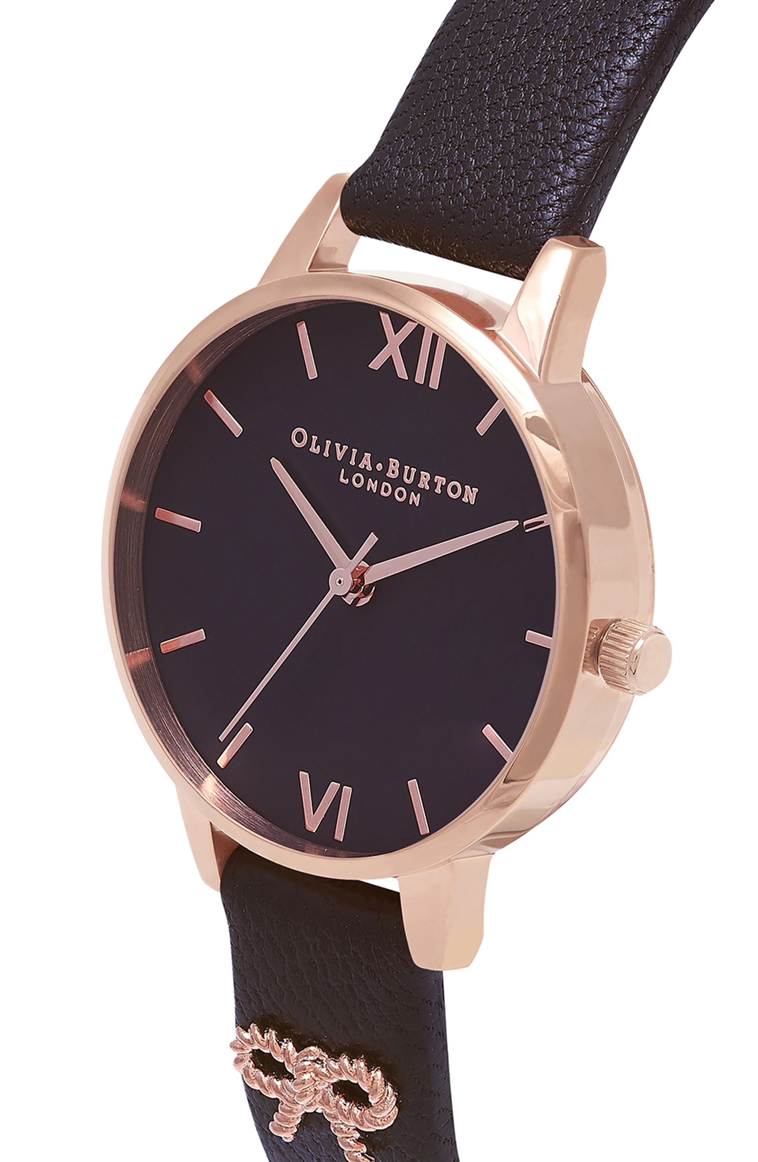 Vintage Bow Leather Strap Watch, 30mm,                             Alternate thumbnail 4, color,                             BLACK/ ROSE GOLD