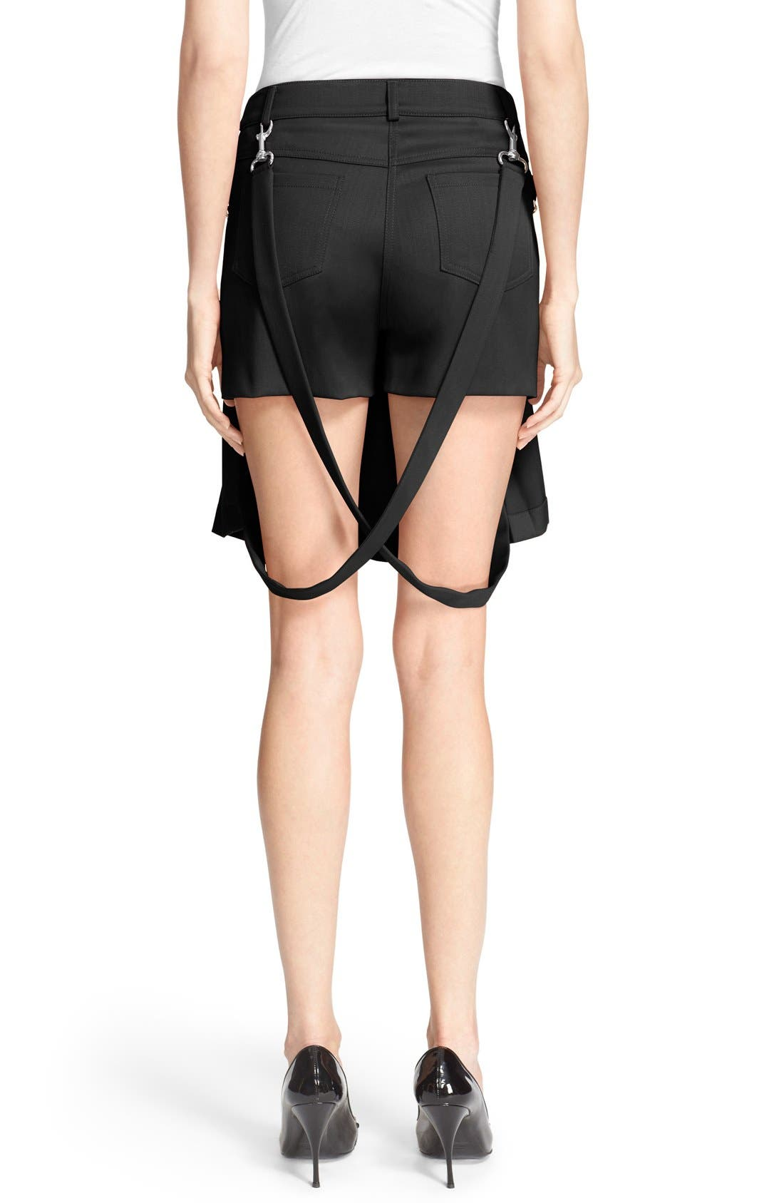 Pleated Overlay Shorts with Suspenders,                             Alternate thumbnail 2, color,                             001