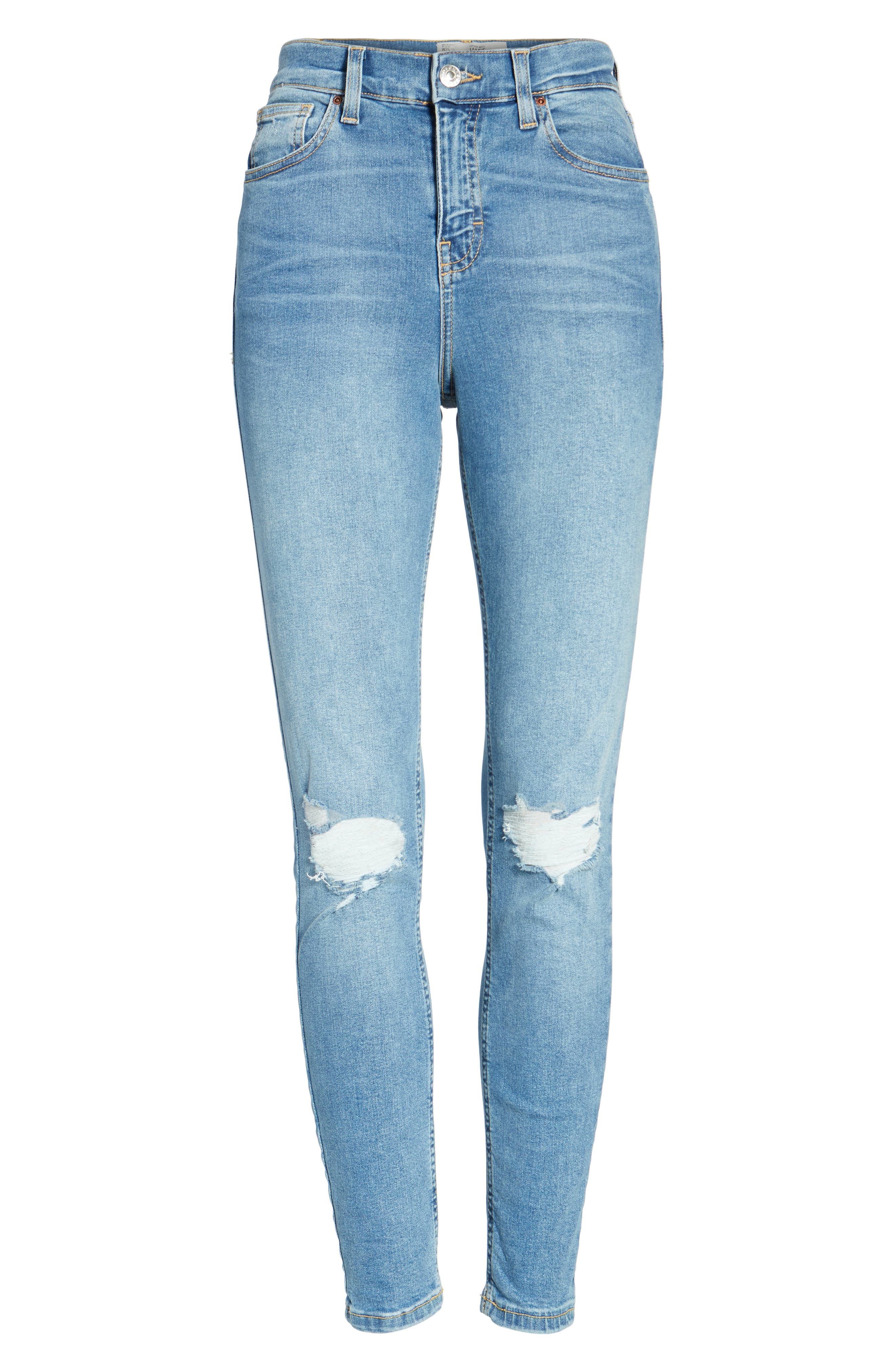 Moto Jamie Ripped High Waist Ankle Skinny Jeans,                             Alternate thumbnail 7, color,                             400