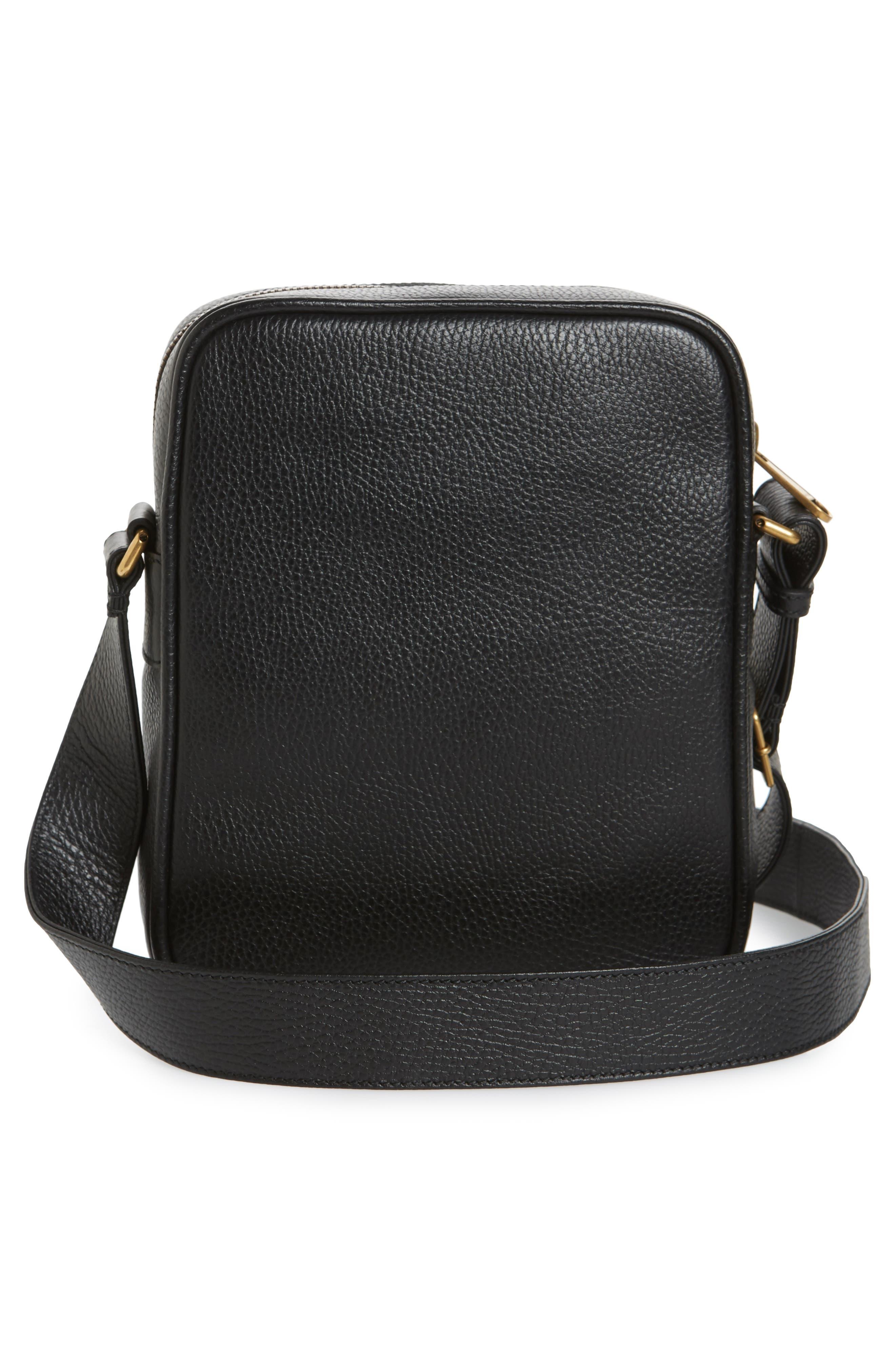 Logo Leather Messenger Bag,                             Alternate thumbnail 3, color,                             991