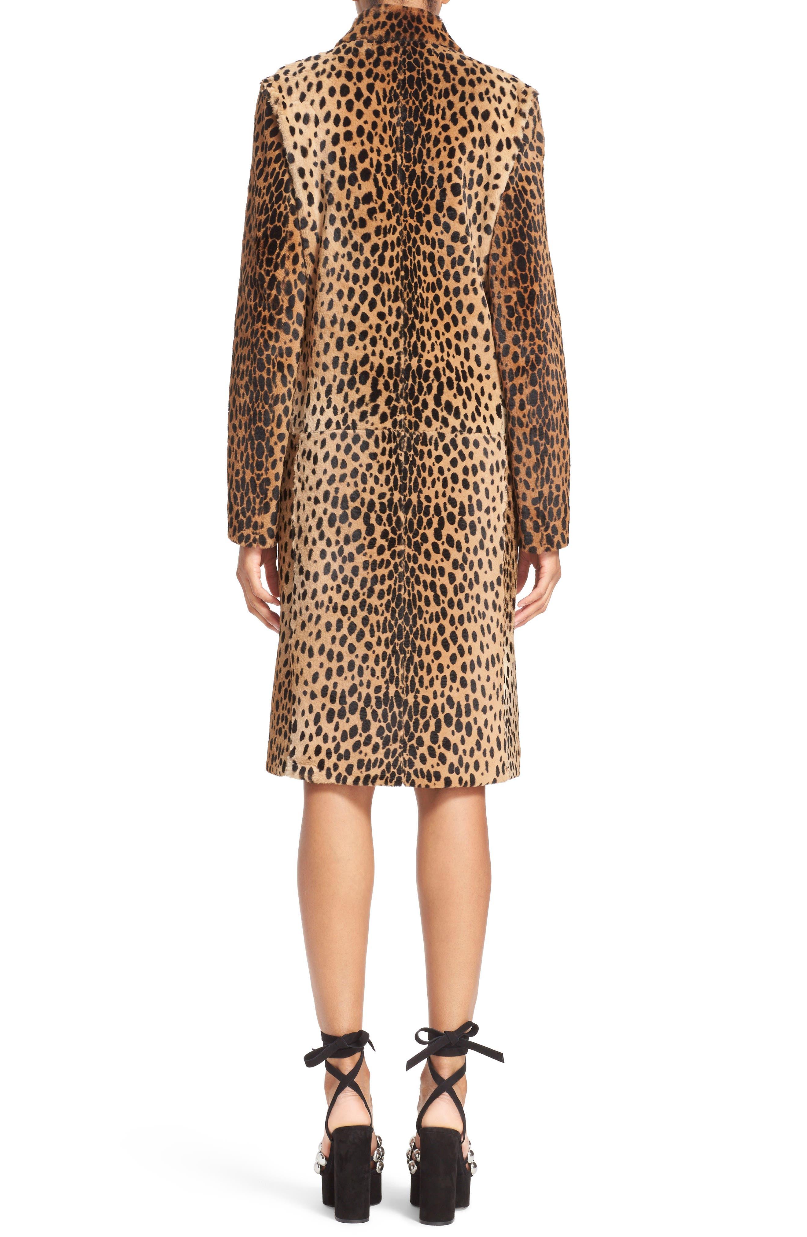Cheetah Print Genuine Kangaroo Fur Coat,                             Alternate thumbnail 5, color,