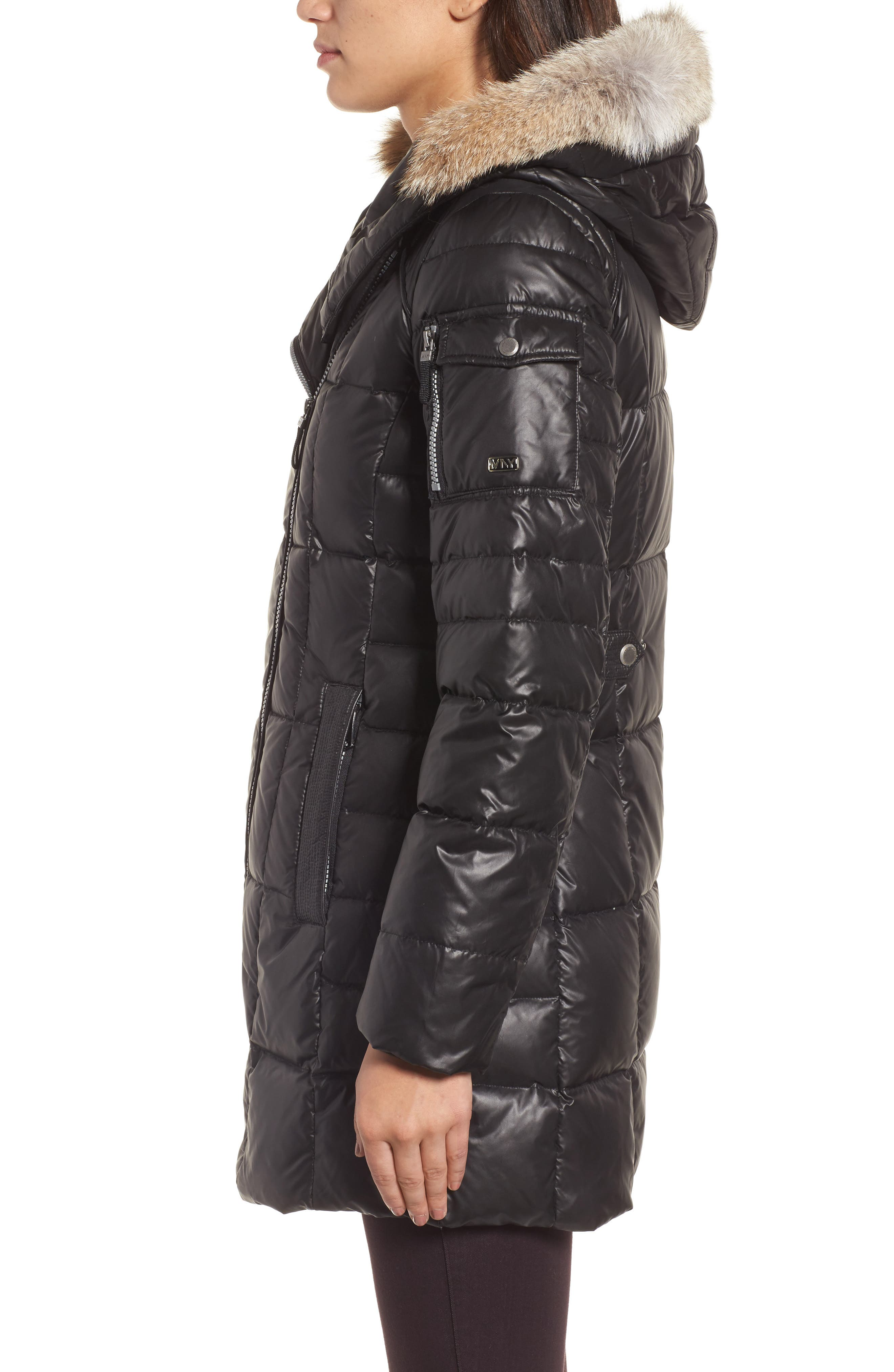 Down & Feather Fill Coat with Genuine Coyote Fur,                             Alternate thumbnail 7, color,